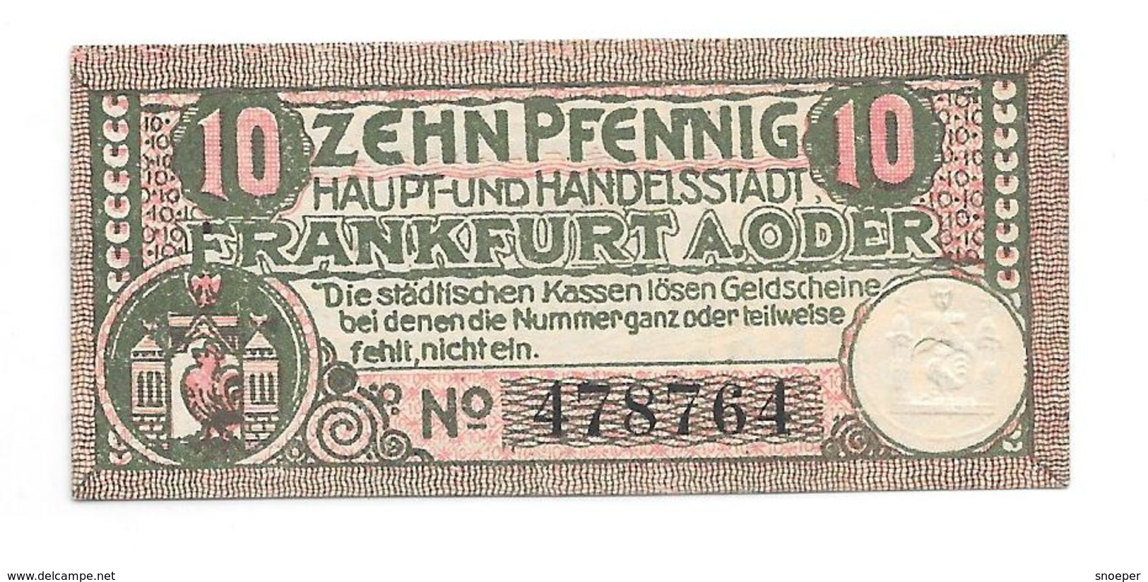 **notgeld  Frankfurt A/d Oder  10 Pfennig F17.4a - [11] Local Banknote Issues