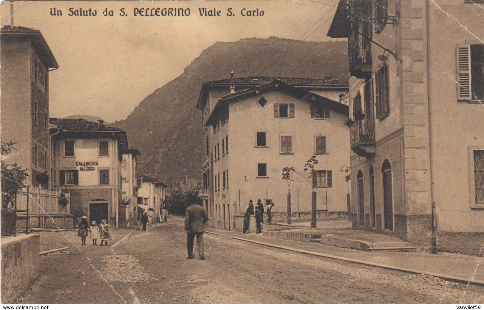 SAN PELLEGRINO-BERGAMO-VIALE SAN CARLO-CARTOLINA VIAGGIATA  IL 27-9-1910 - Bergamo