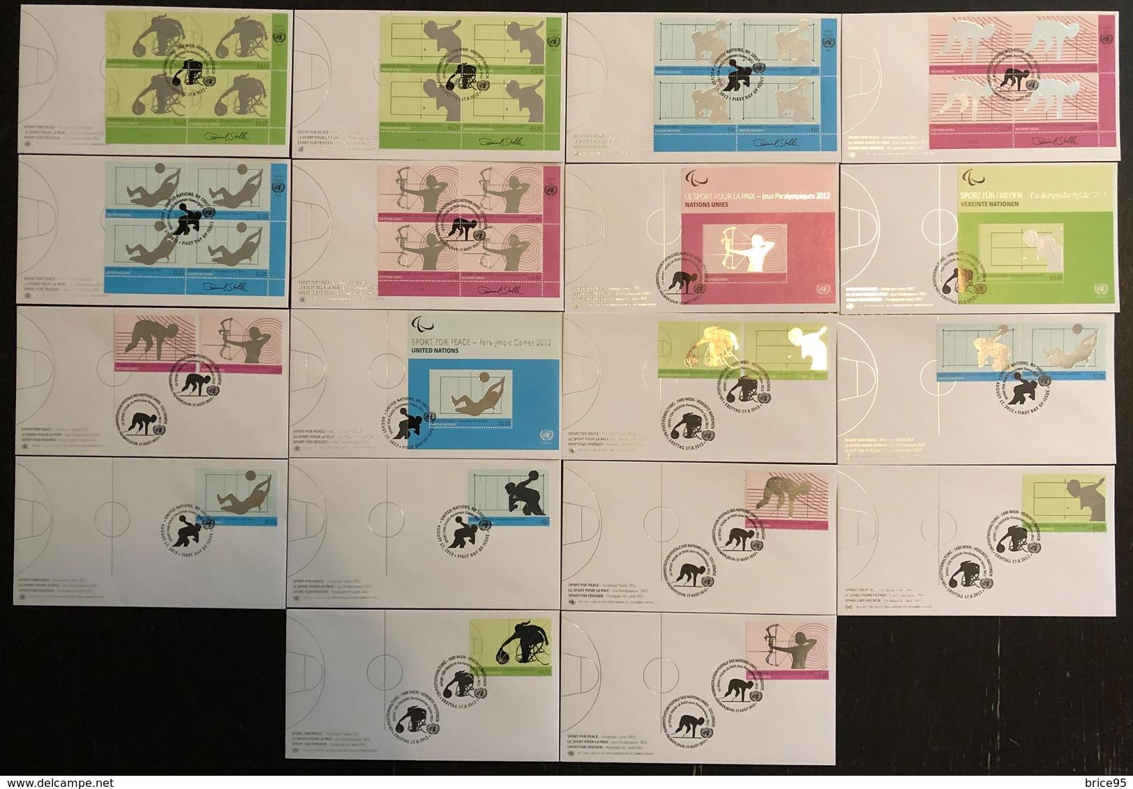 Nations Unies FDC - Premier Jour - Lot De 18 FDC - Thématique Sports - 2012 - Collections, Lots & Séries