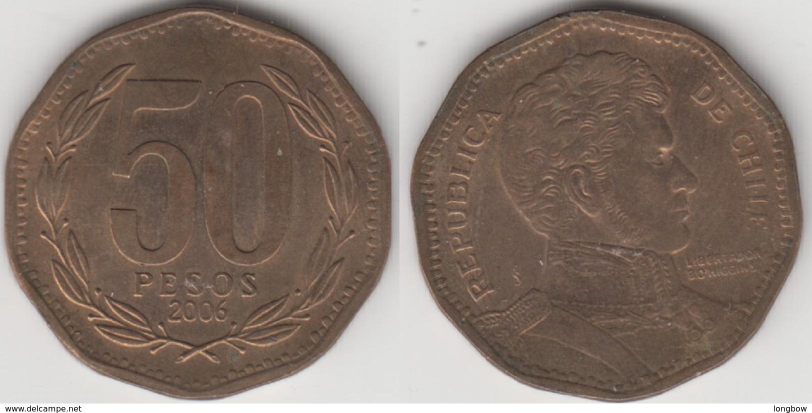 Cile 50 Pesos 2006 (narrow Year) KM#219.2 - Used - Chile