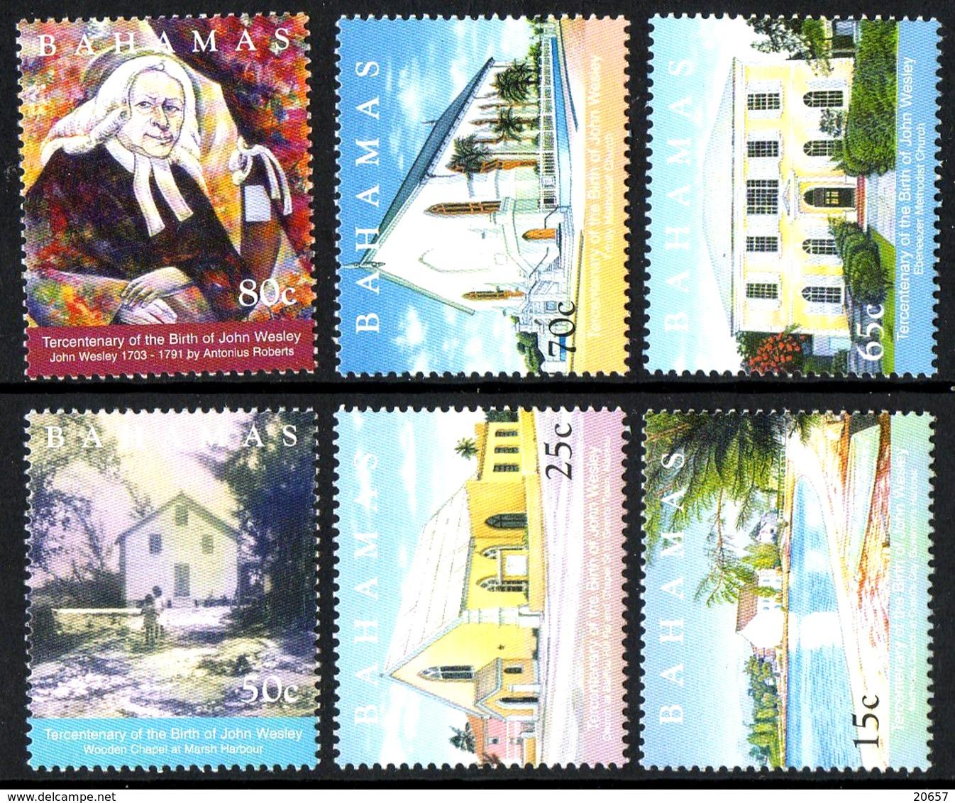 BAHAMAS 1163/68 Méthodiste , église , John Wesley - Theologians