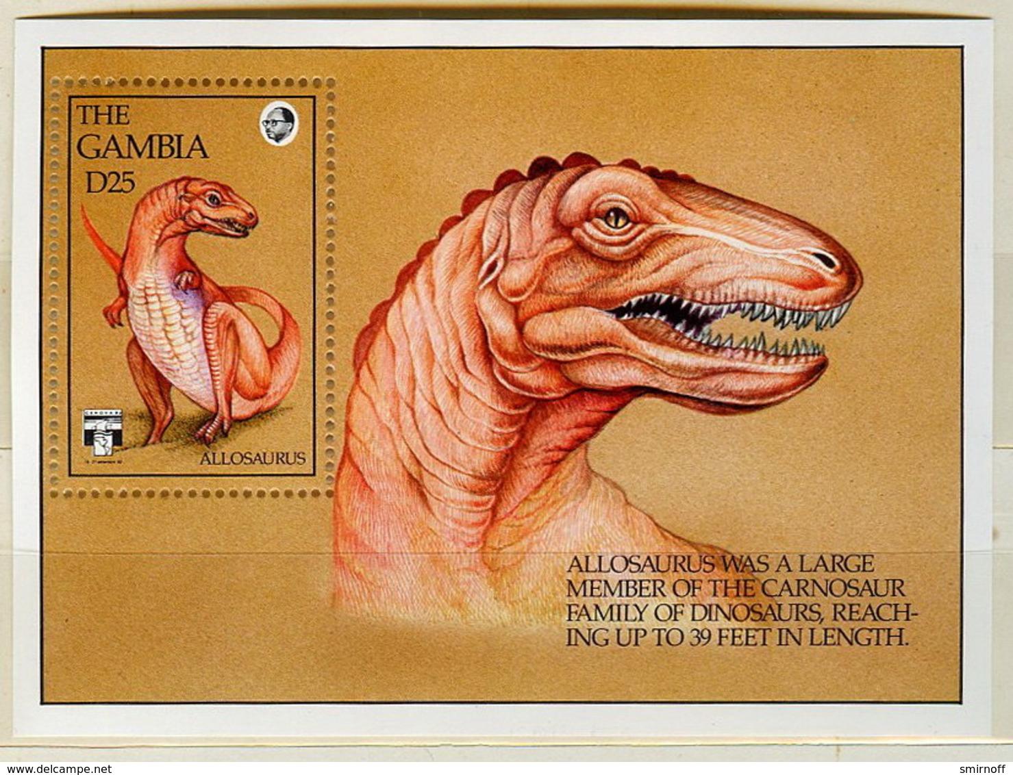 Gambia 1992 Allosaurus Souvenir Sheet Sc 8.00$ - Gambia (1965-...)