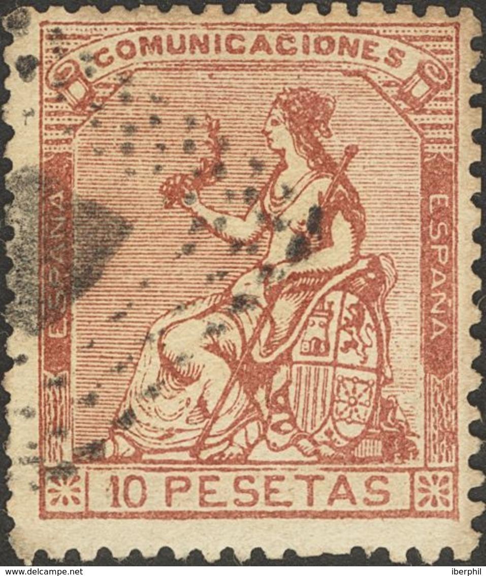 º140F. 1873. 10 Pts Castaño. FALSO SPERATI, Tipo B, Sin La Marca De La B.P.A. MAGNIFICO. - Spain