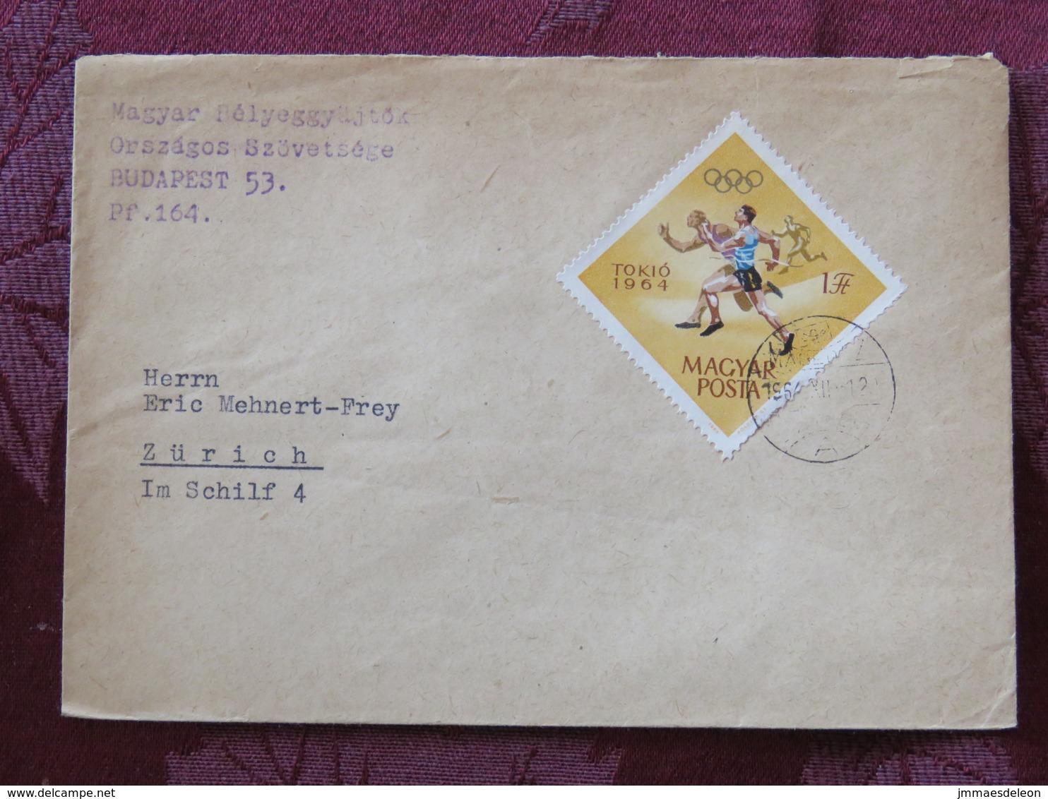 Hungary 1964 Cover Budapest To Switzerland - Tokyo Olympic Games Running - Hungary