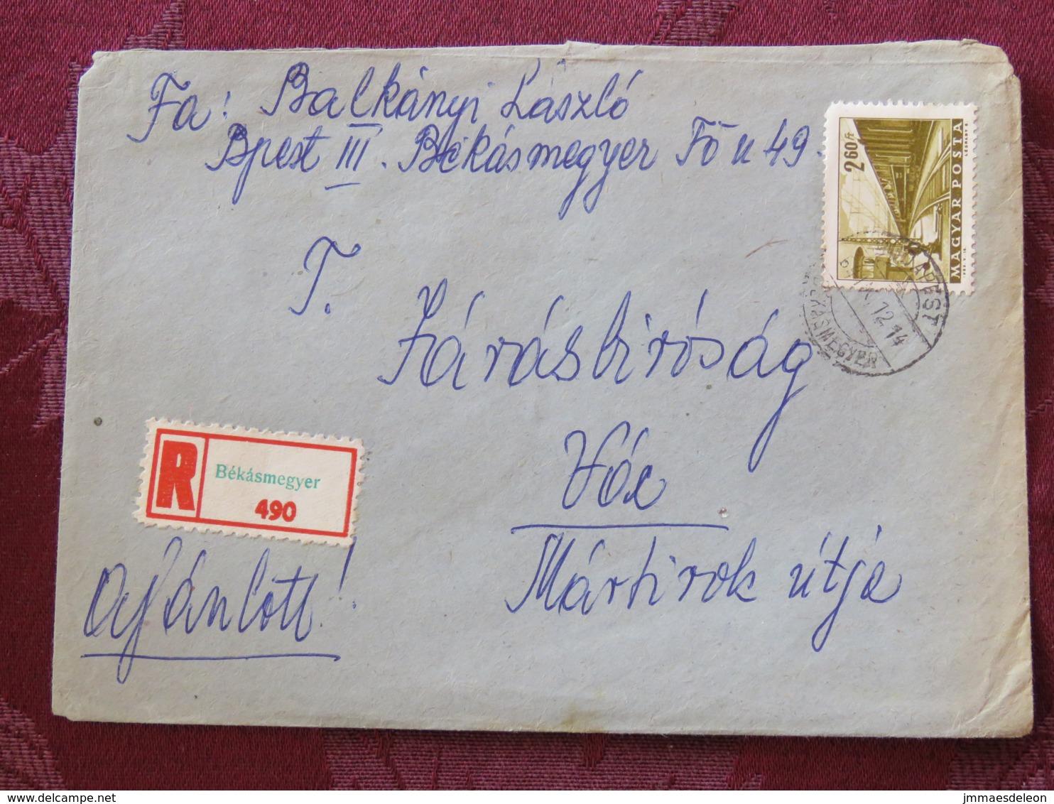Hungary 1964 Registered Cover Bekasmegyer Budapest To Voc - Train - Covers & Documents
