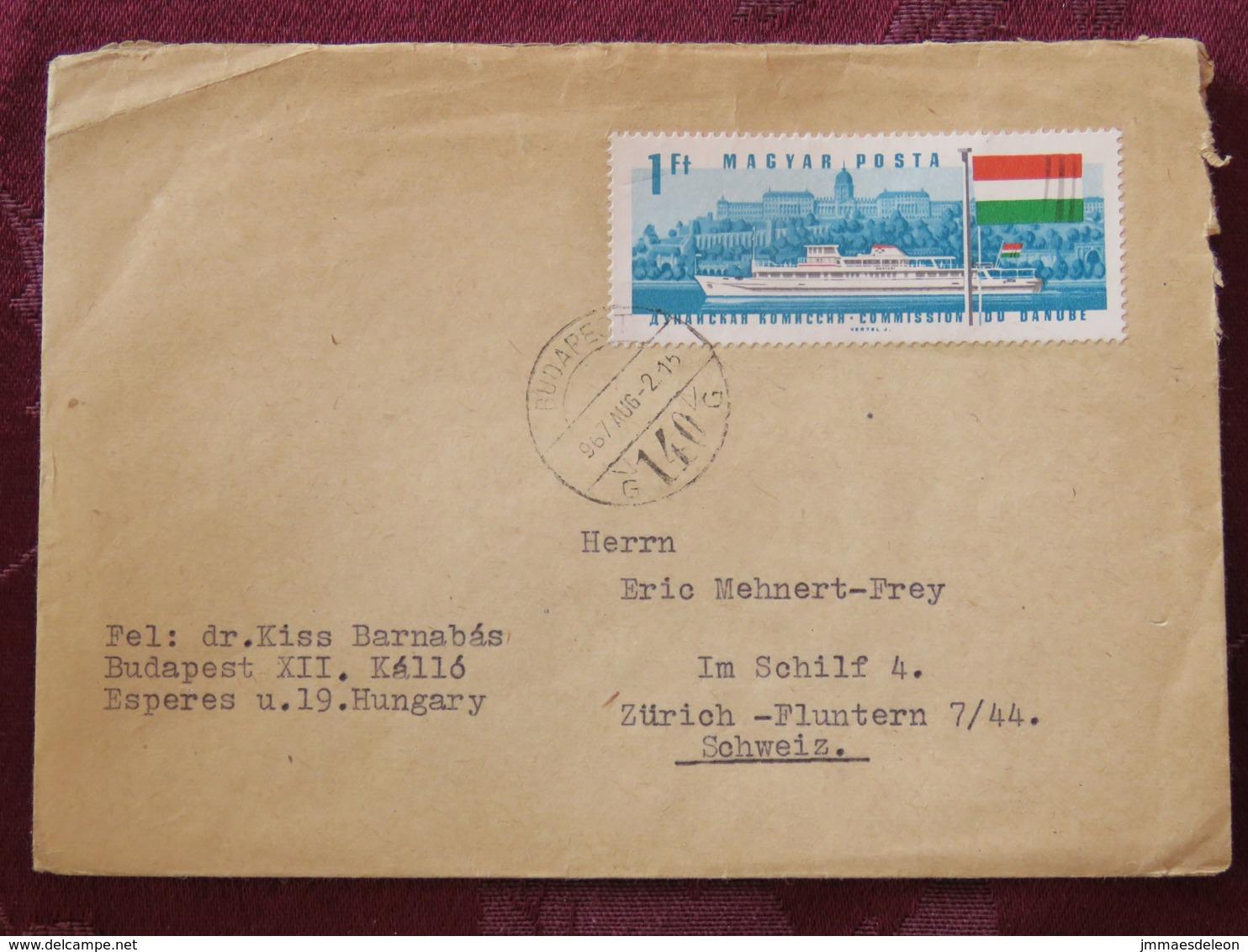 Hungary 1967 Cover Budapest To Switzerland - Ship - Flag - Danube River - Hungary
