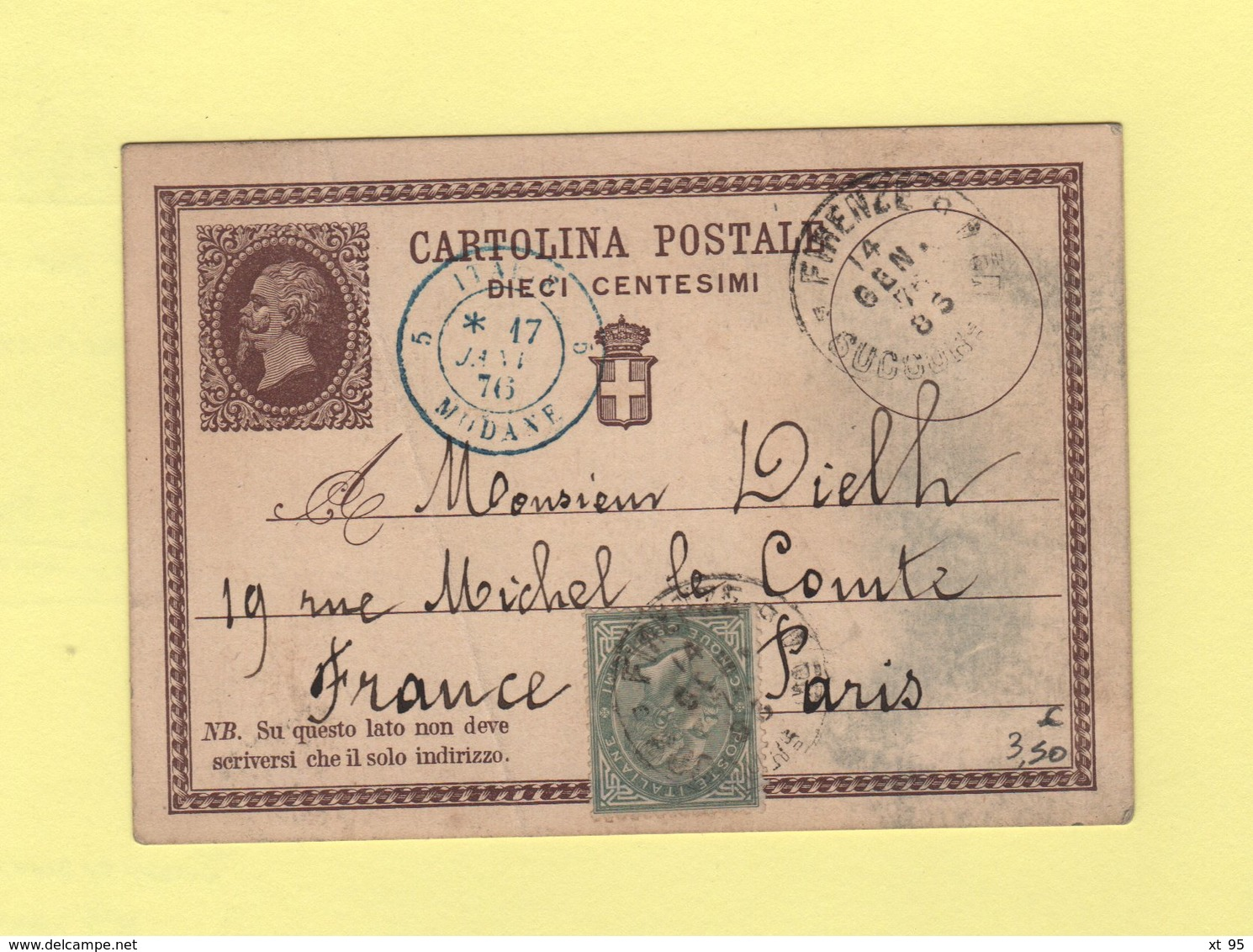 Italie - Firenze - Florence - 14 Janvier 1876 - Destination Fance - Entree Italie Modane - 1861-78 Victor Emmanuel II