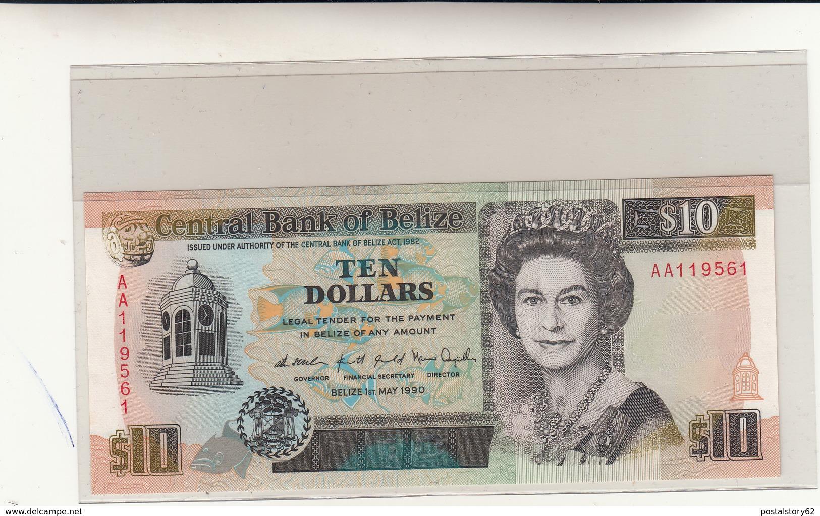 Belize, Central Bank 10 Dollars 01- 05 - 1990 Pick 54a Unc. - Belize
