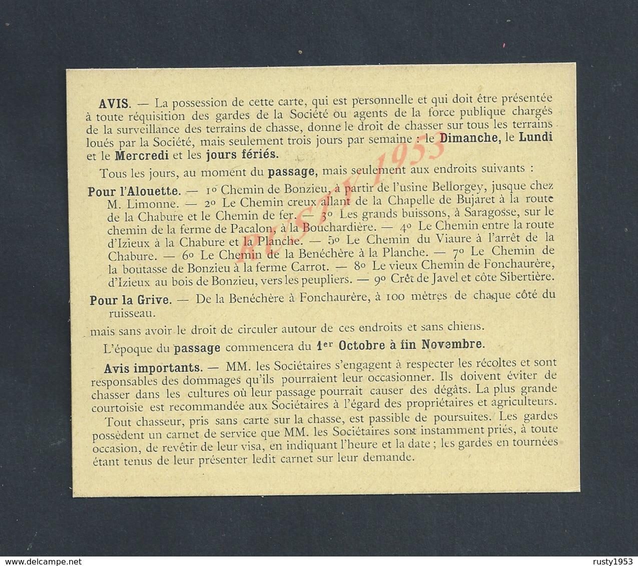 CATE DE SOCIÈTAIRE VIERGE SOCIÉTÉ DES CHASSEURS D IZIEUX ANNÉE DE CHASSE 1917/18 : - Cartes