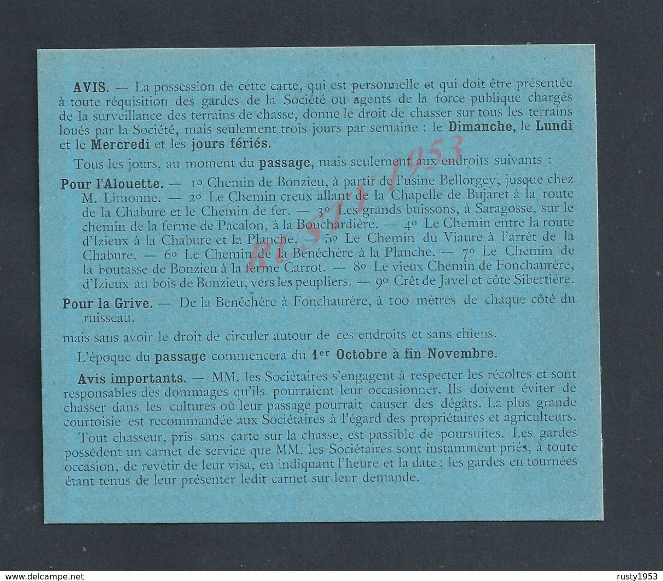 CATE DE SOCIÈTAIRE VIERGE SOCIÉTÉ DES CHASSEURS D IZIEUX ANNÉE DE CHASSE 1918/19 : - Cartes
