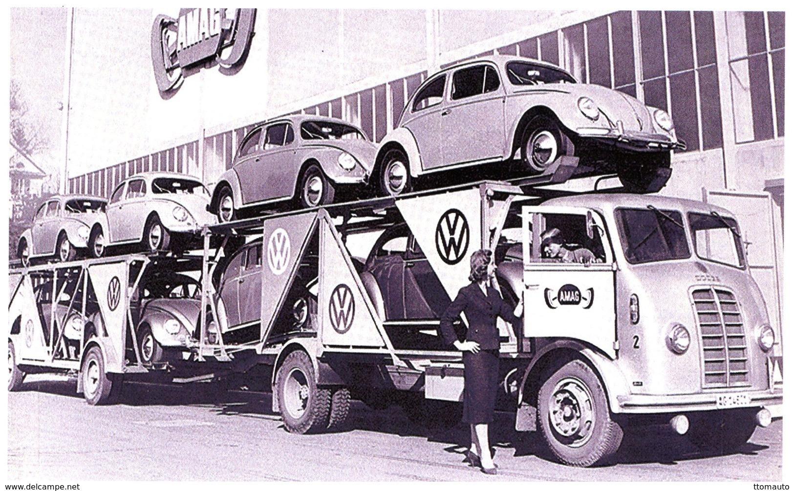 Camion Dodge Transportant 8 VW Cochinelles Pour La Company AMAG Au Schinznach-Bad, Suisse  -  15x10 PHOTO - Camión & Camioneta