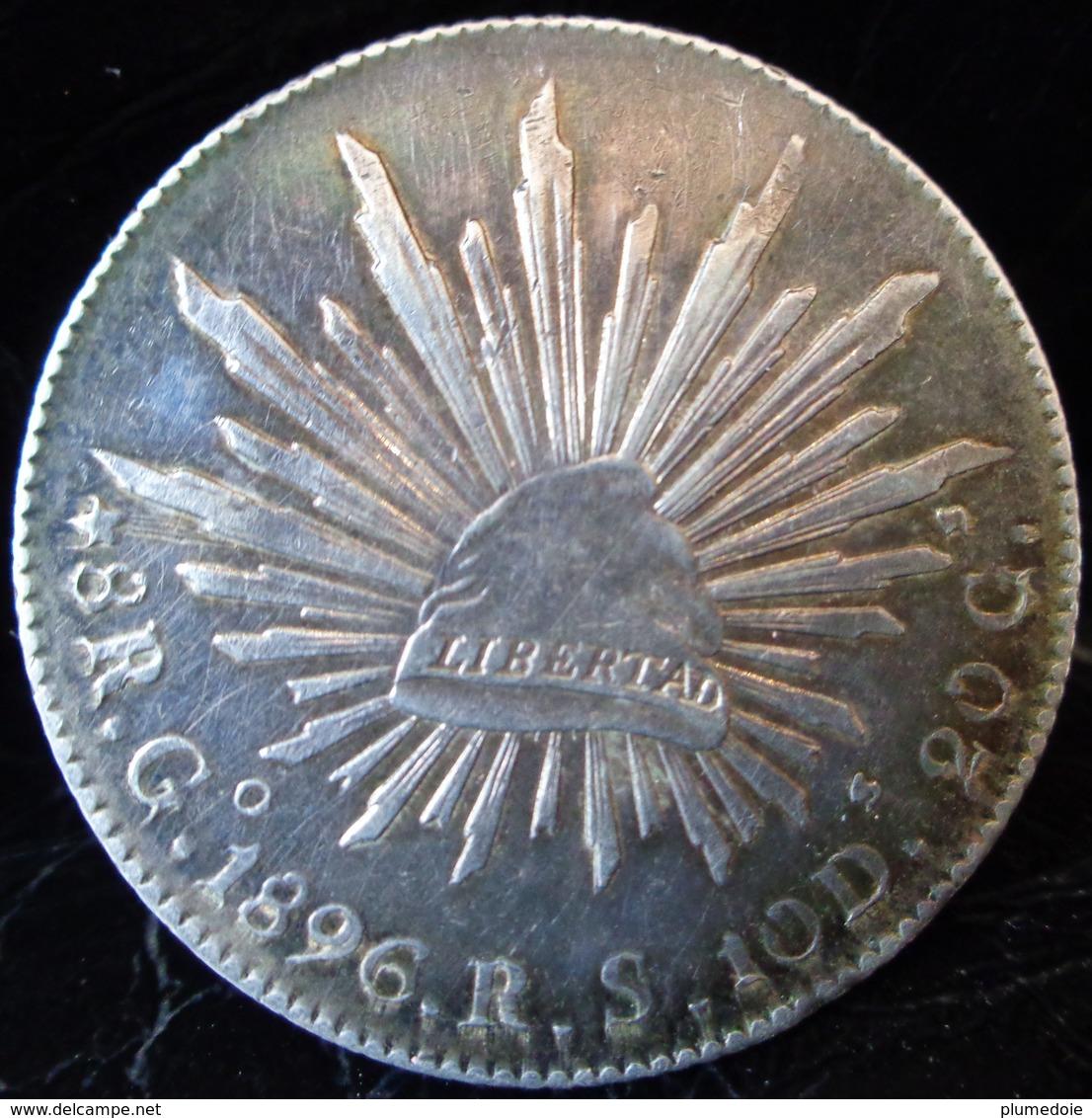 MEXIQUE MONNAIE ARGENT  8 Reales Go 1896 R.S. Guanajuato RARE ANTIQUE MEXICO SILVER COIN - Mexique