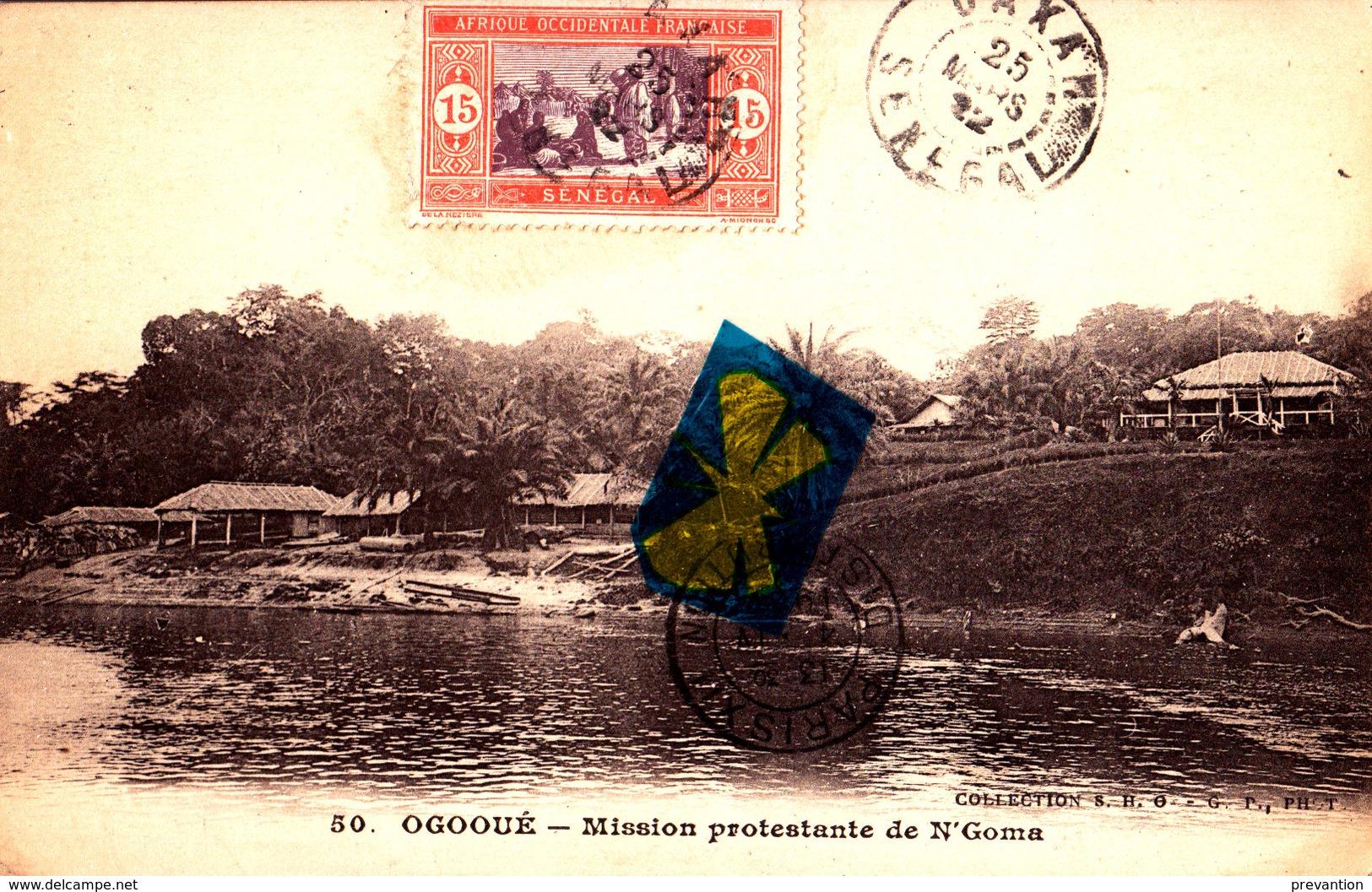 OGOOUE - Mission Poestante De N'Goma - Timbre Et Cachet Postal Du SENEGAL-Fleuve Partant Du Congo Et Traversant Le Gabon - Sénégal