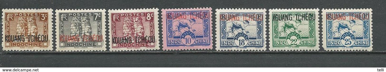 KOUANG TCHEOU Scott 107,114,115,118,120,123,125 Yvert 125,128,129,131,131A,132,133 (7) * 4,70 $ 1941 - Unused Stamps