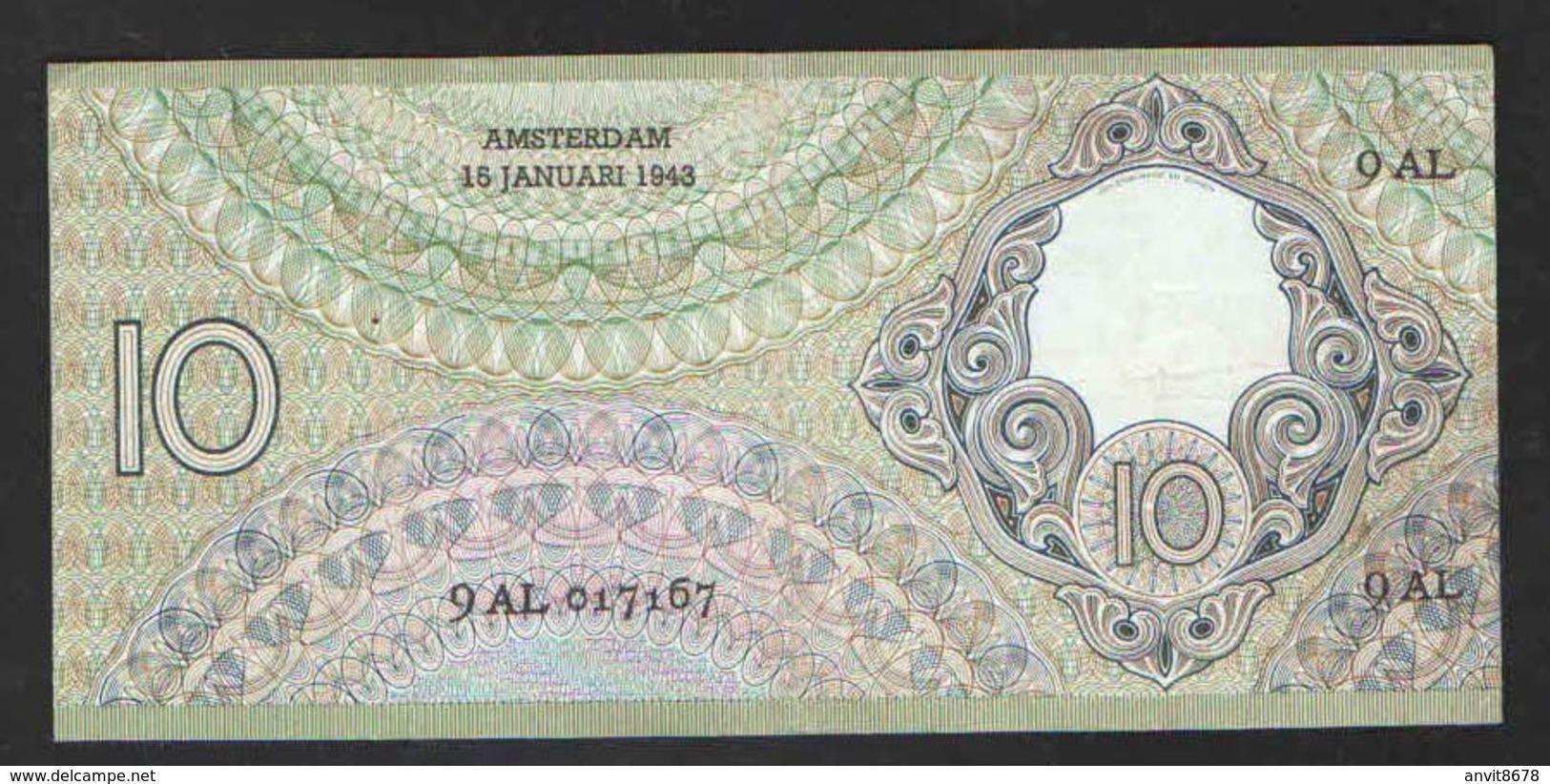NETHERLANDS  10 GULDEN  1943 - 5 Florín Holandés (gulden)