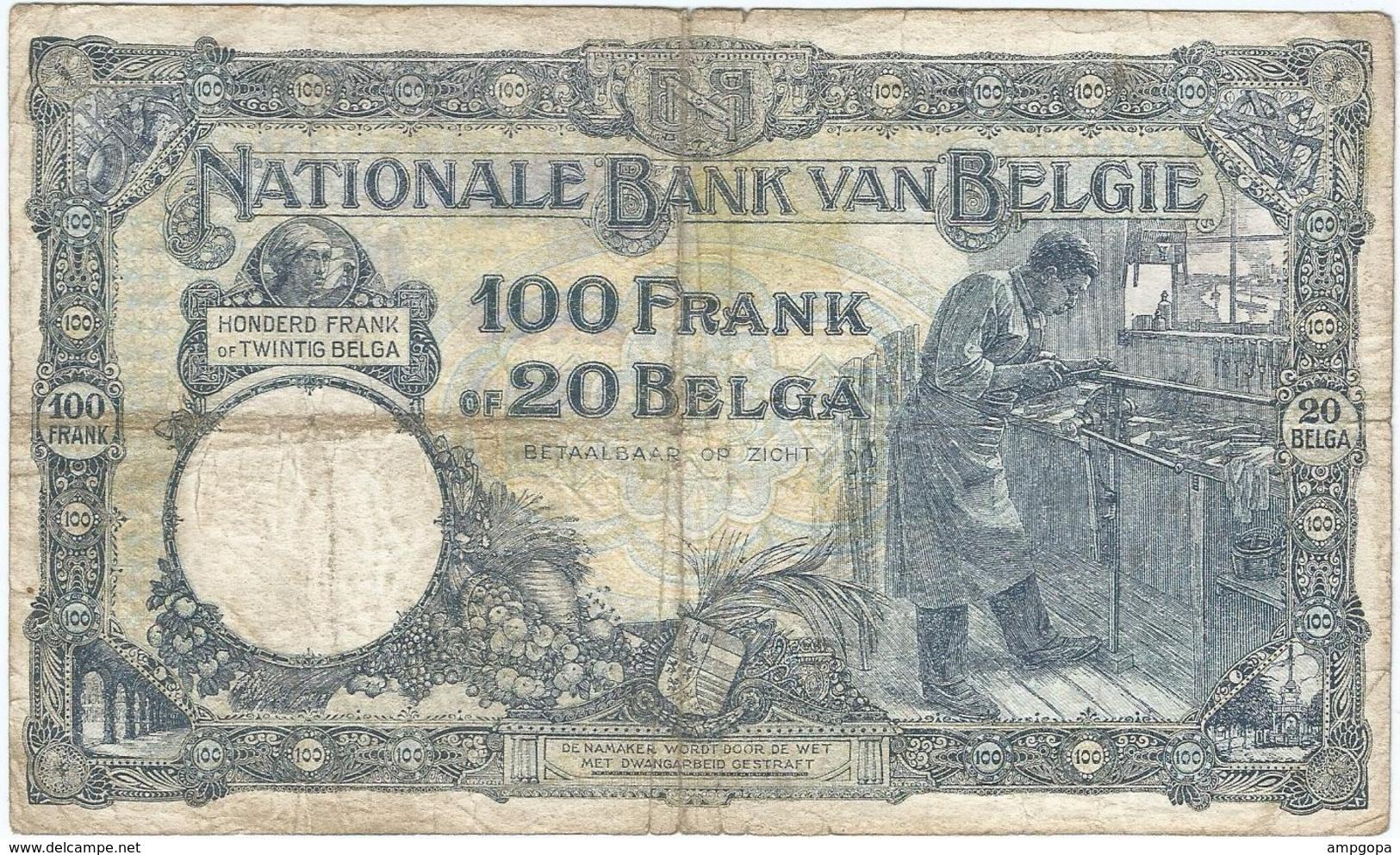 Bélgica - Belgium 100 Francs 6-3-1928 Pk 102 2 Ref 3282-2 - 100 Franchi & 100 Franchi-20 Belgas