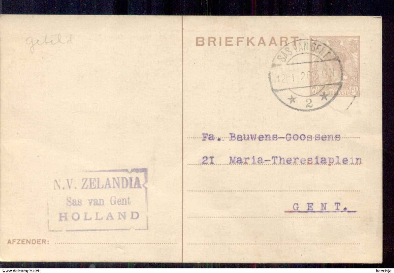 Sas Van Gent - N V Zelandia - 1920 - Postal Stationery