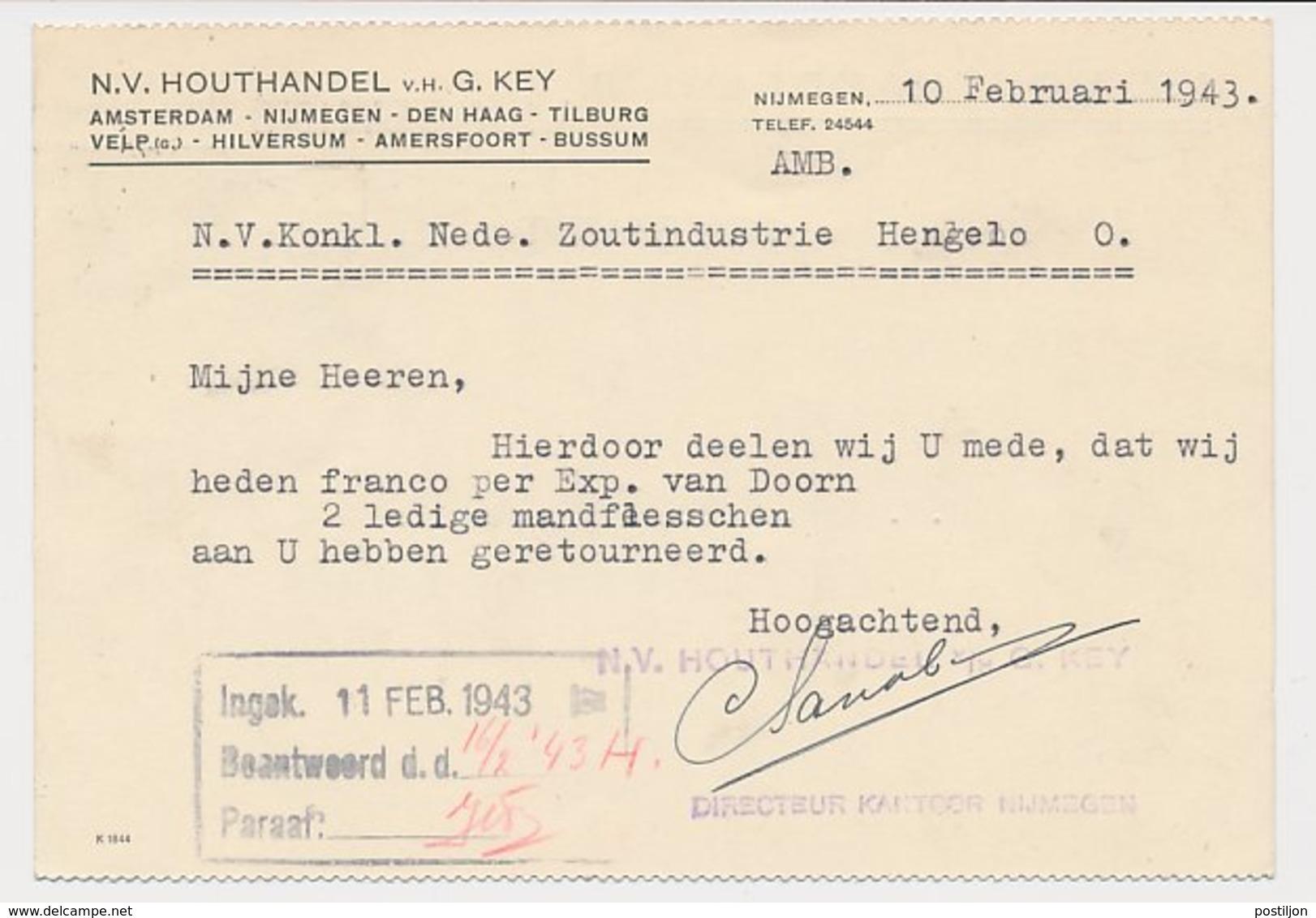 Firma Briefkaart Nijmegen 1943 - Houthandel - Periode 1891-1948 (Wilhelmina)