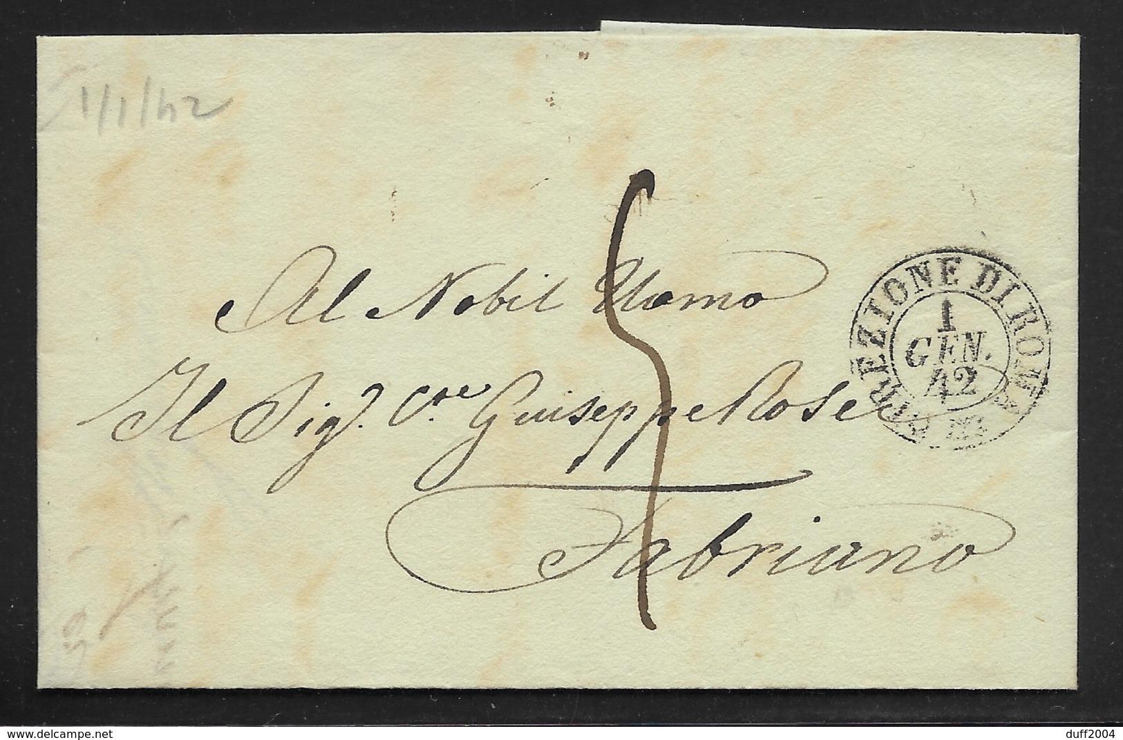 DA ROMA A FABRIANO - 1.1.1842. - 1. ...-1850 Prefilatelia