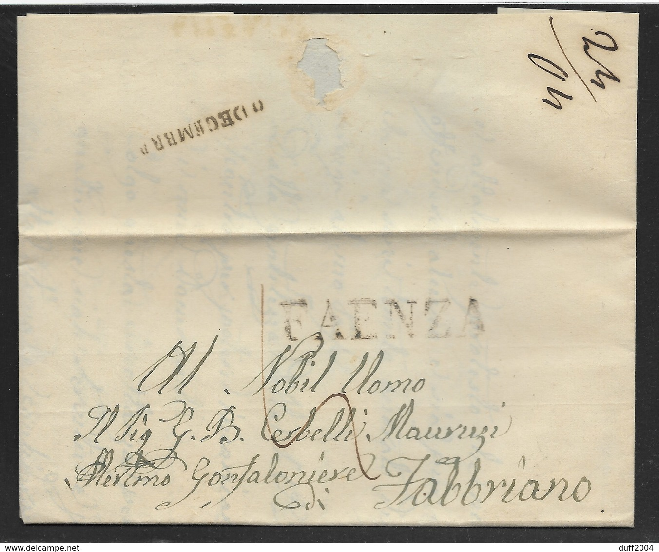 DA FAENZA A FABRIANO - 22.12.1853. - Italia