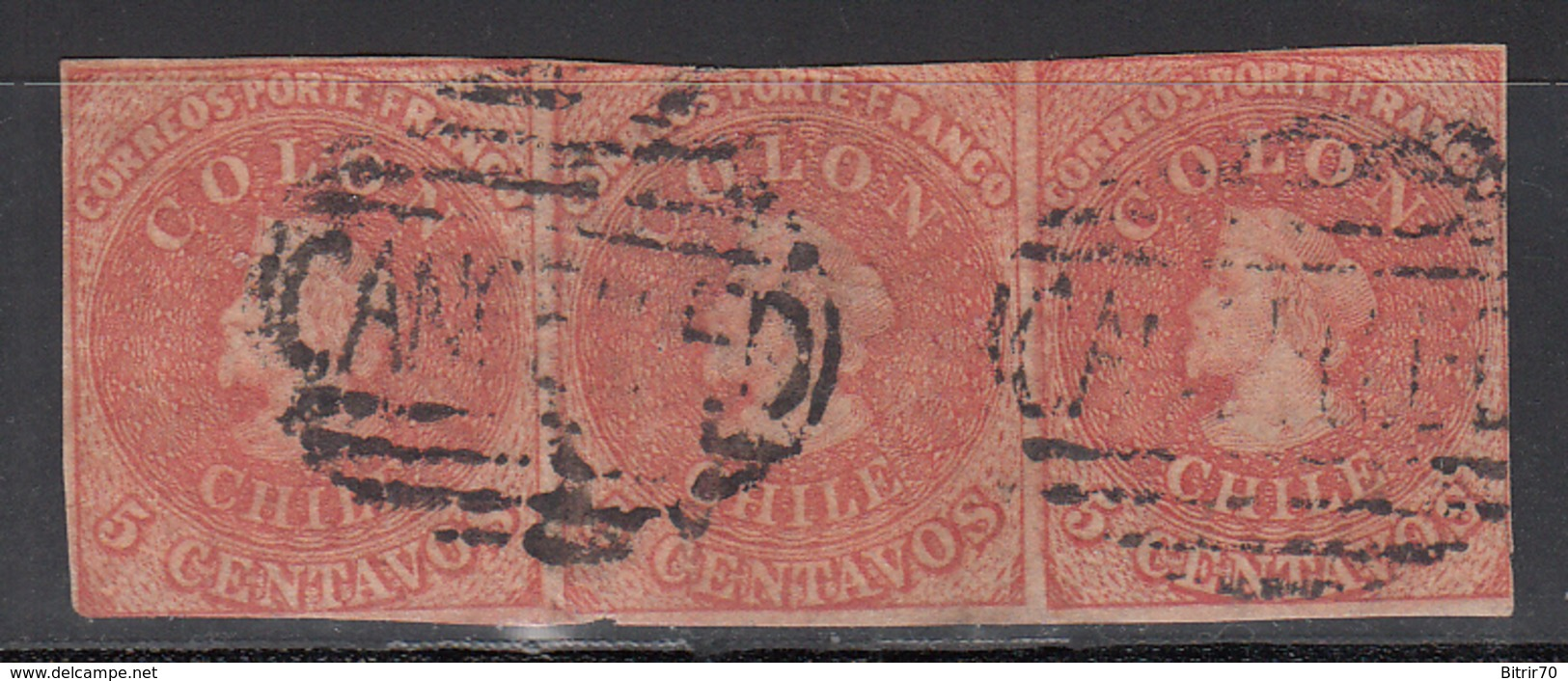 1856-66  Yvert Nº 5c, Carmin. - Chile