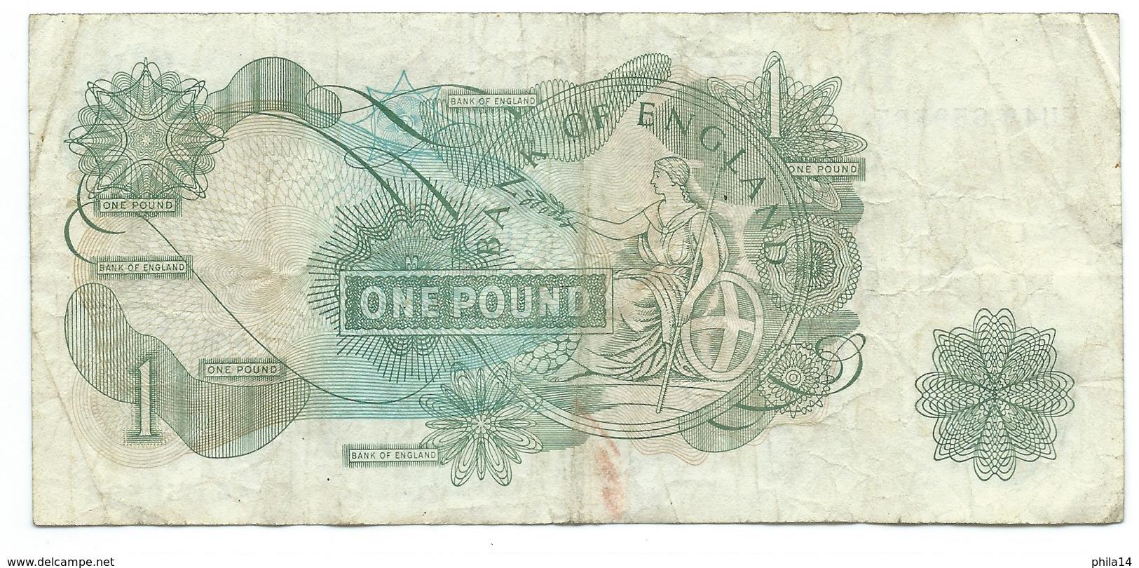 Billet, ENGLAND ROYAUME UNI / 1 ONE POUND - 1952-… : Elizabeth II