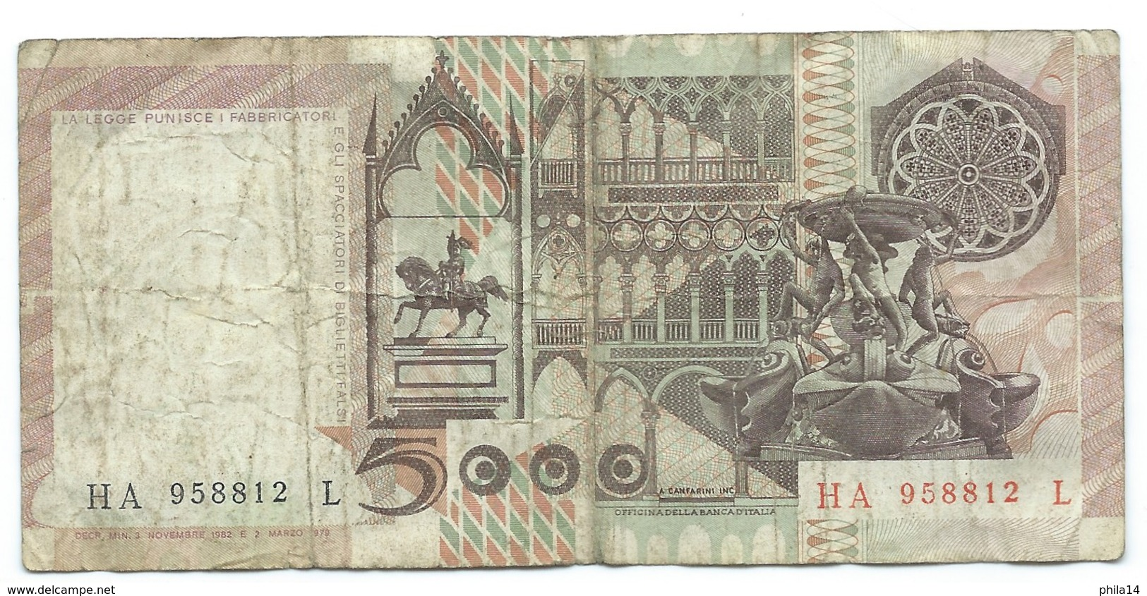 Billet, Italie, 5000 Lire, 1982 - [ 2] 1946-… : République