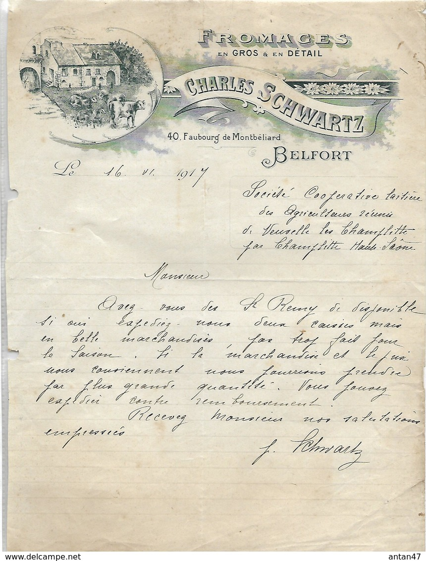 Lettre 1917  / 90 BELFORT / Fromages Charles SCHWARTZ - France