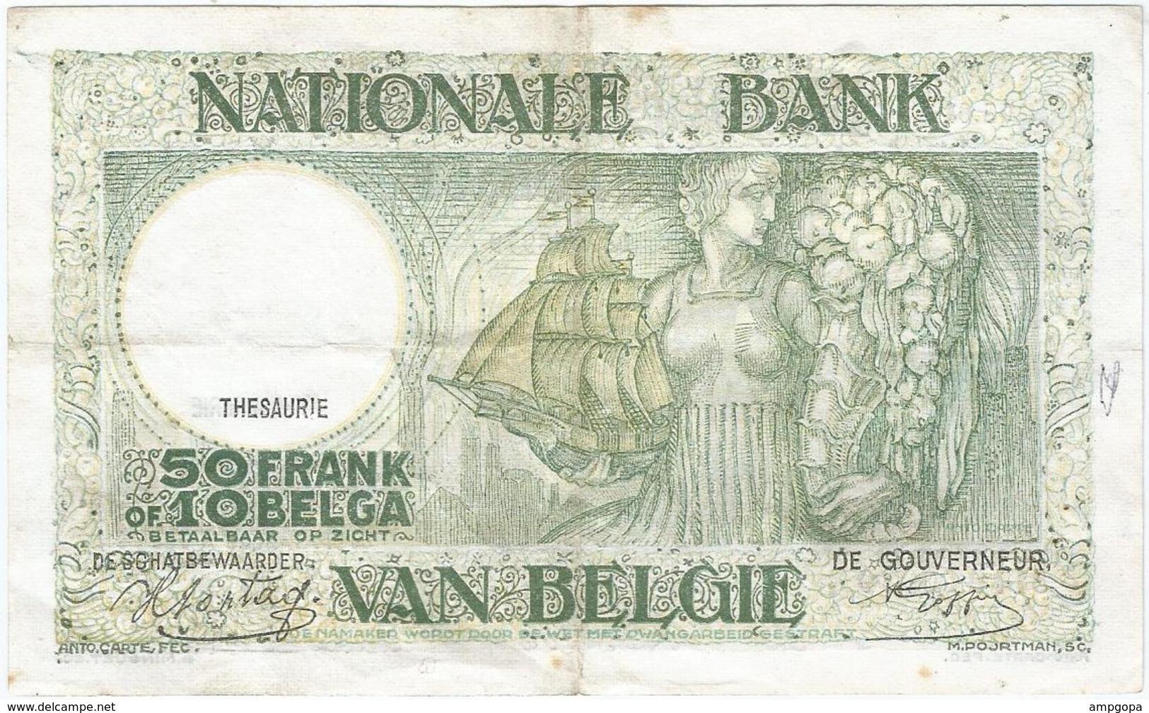 Bélgica - Belgium 50 Francs 3-1-1944 Pk 106 3.8 Firmas Sontag Y Goffin Ref 3283-2 - Otros