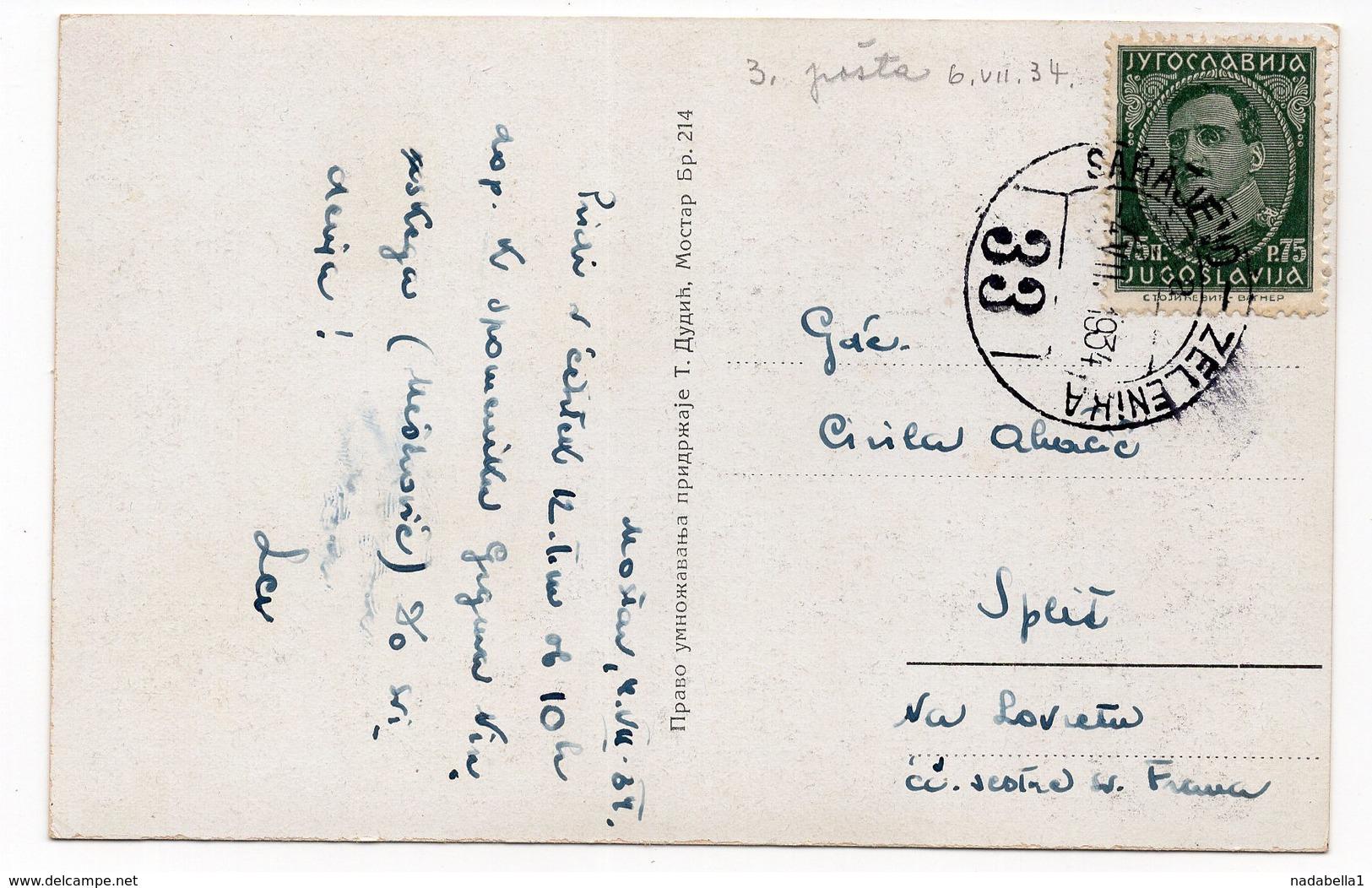 1934 YUGOSLAVIA, BOSNIA, MOSTAR , BRIDGE, 06.07.1934, TPO 33, SARAJEVO -ZELENIKA - Bosnia And Herzegovina