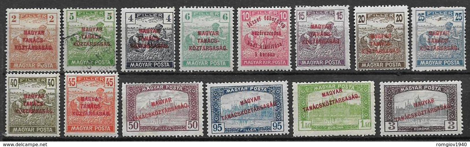 UNGHERIA  1919 SOPRASTAMPATI YVERT. 245-63 MISTA  VF NON COMPLETA - Usati