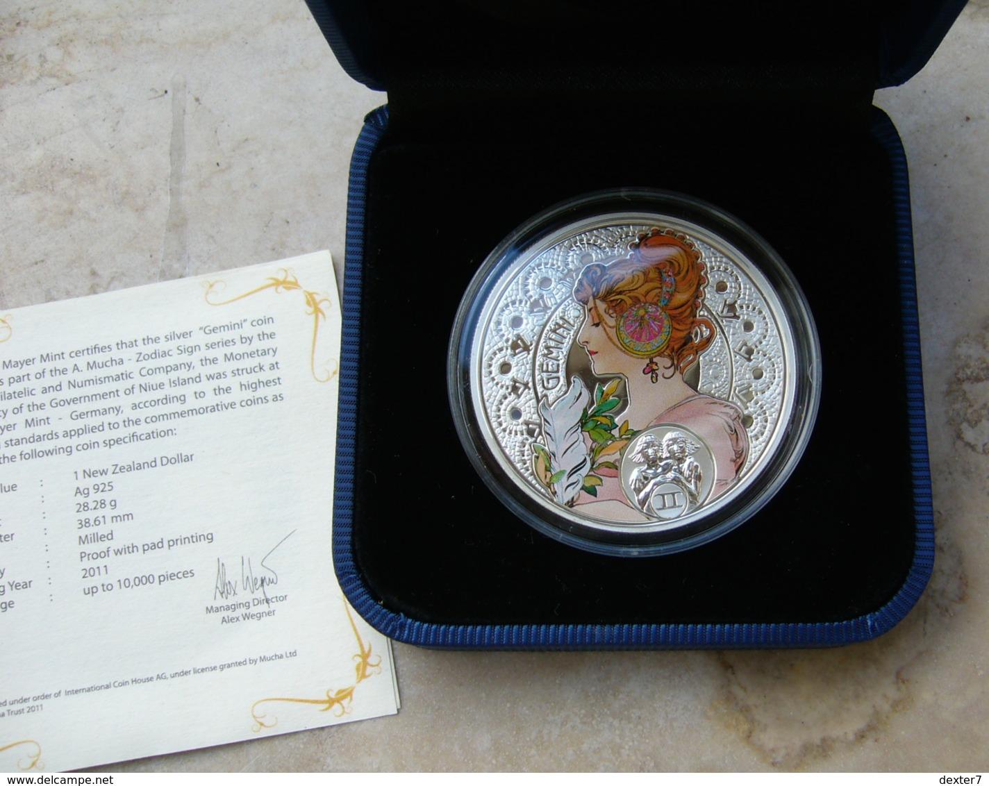Niue, Mucha Zodiac GEMINI 2011 Silver 925 Sterling Box CoA - Zodiaco Segno Zodiacale GEMELLI Argento 925 - Niue