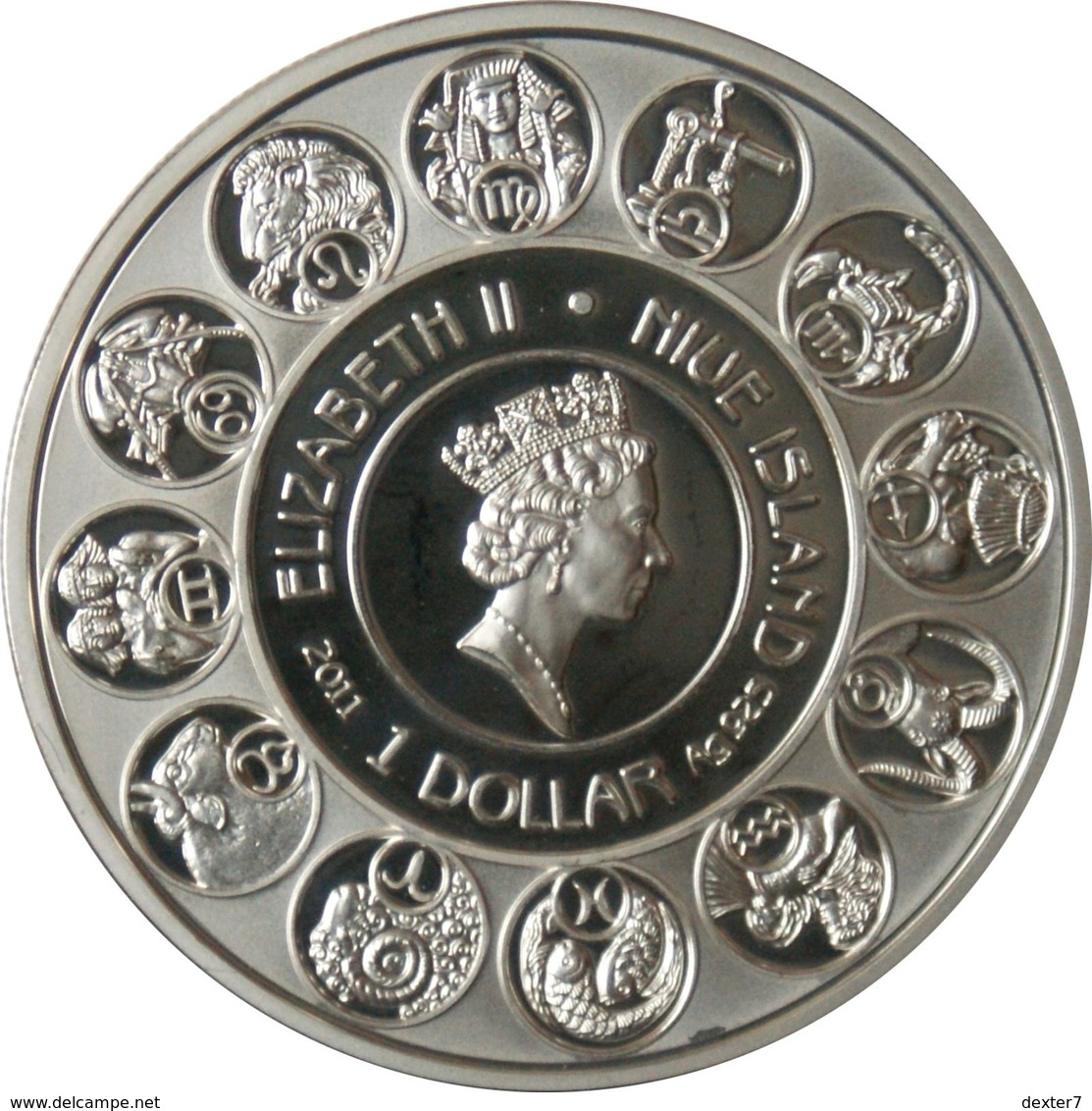 Niue, Mucha Zodiac AQUARIUS 2011 Silver 925 Sterling Box CoA - Zodiaco Segno Zodiacale ACQUARIO Argento 925 - Niue