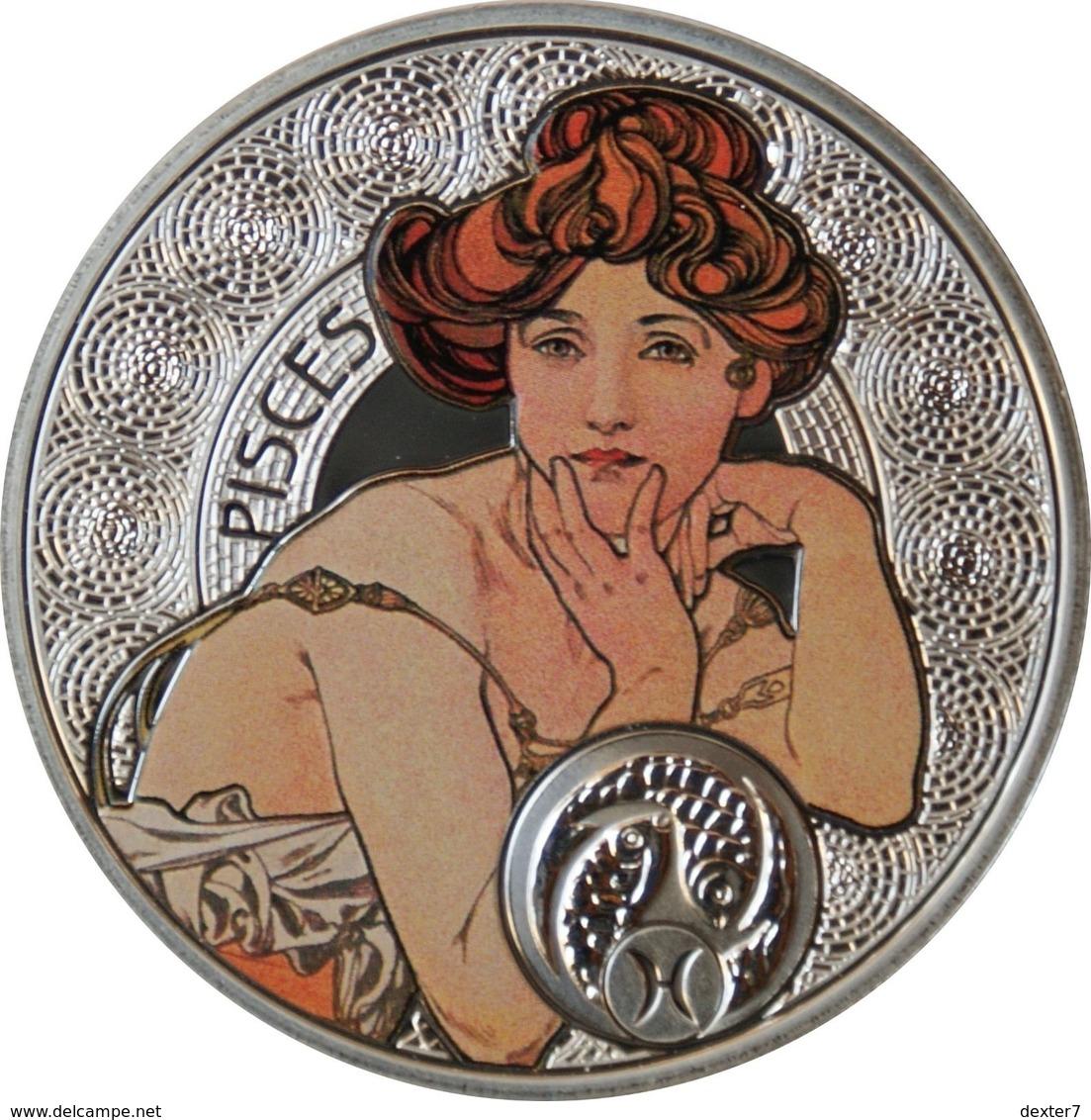 Niue, Mucha Zodiac PISCES 2011 Silver 925 Sterling Box CoA - Zodiaco Segno Zodiacale PESCI Argento 925 - Niue