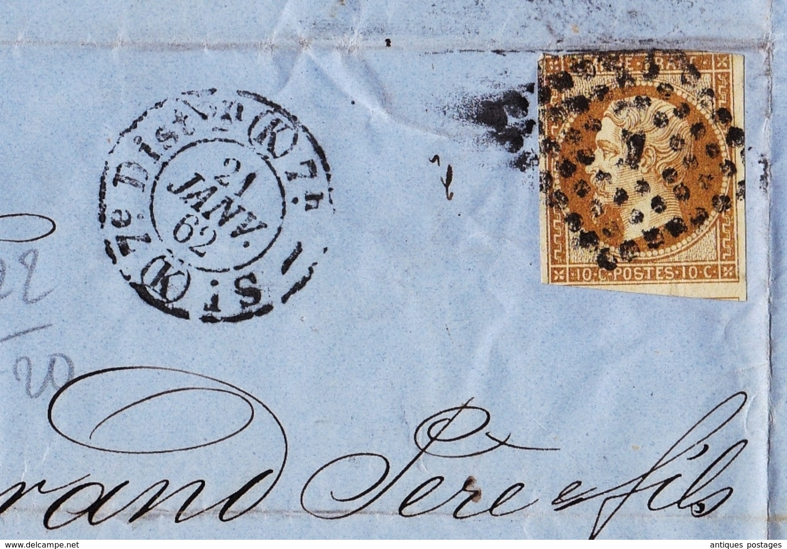 Lettre 1862 Paris Timbre Napoléon III 10 Centime Desgrand Père Et Fils 31 Rue De L'Entrepôt - 1853-1860 Napoléon III