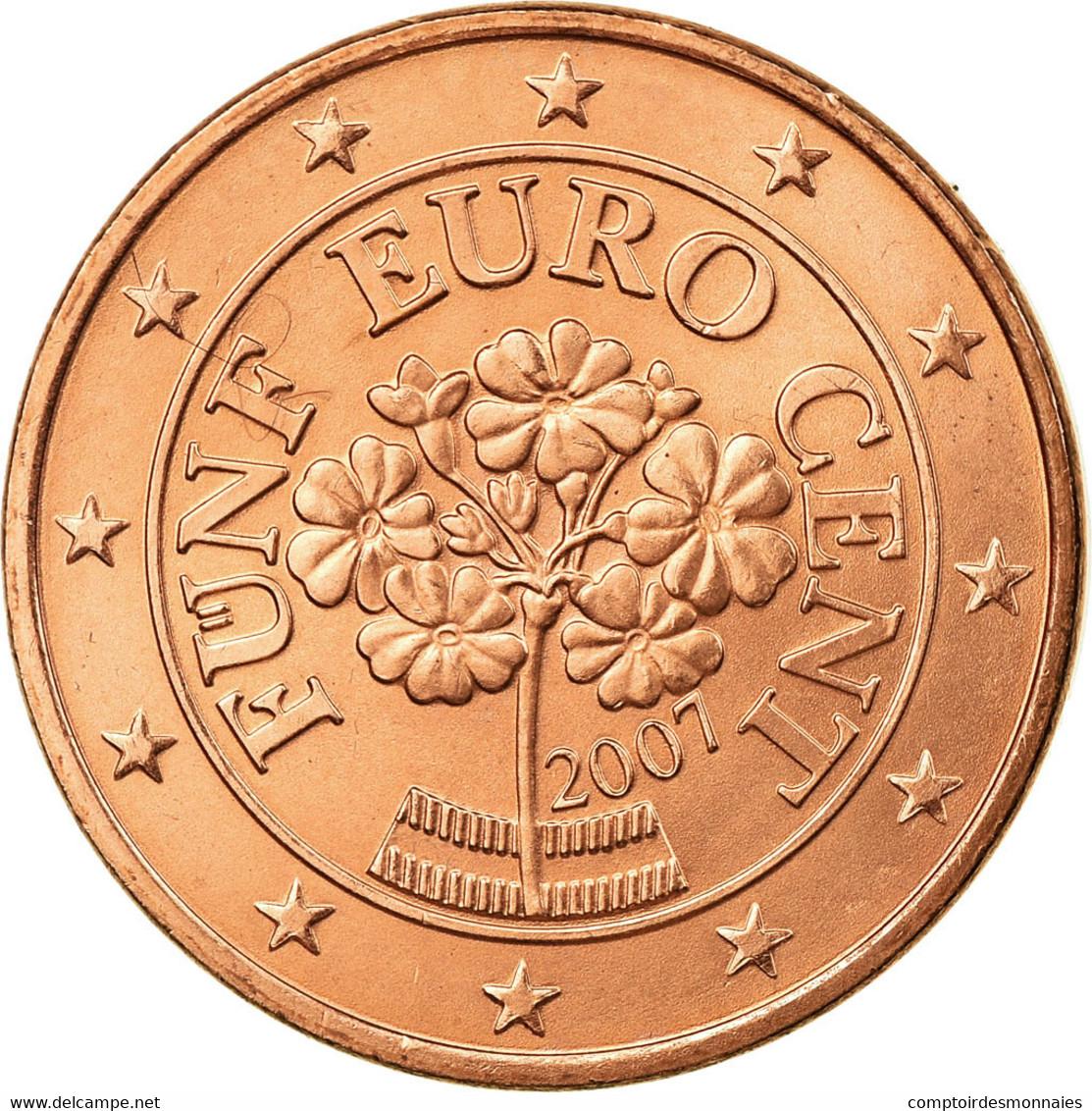 Autriche, 5 Euro Cent, 2007, SUP, Copper Plated Steel, KM:3084 - Autriche