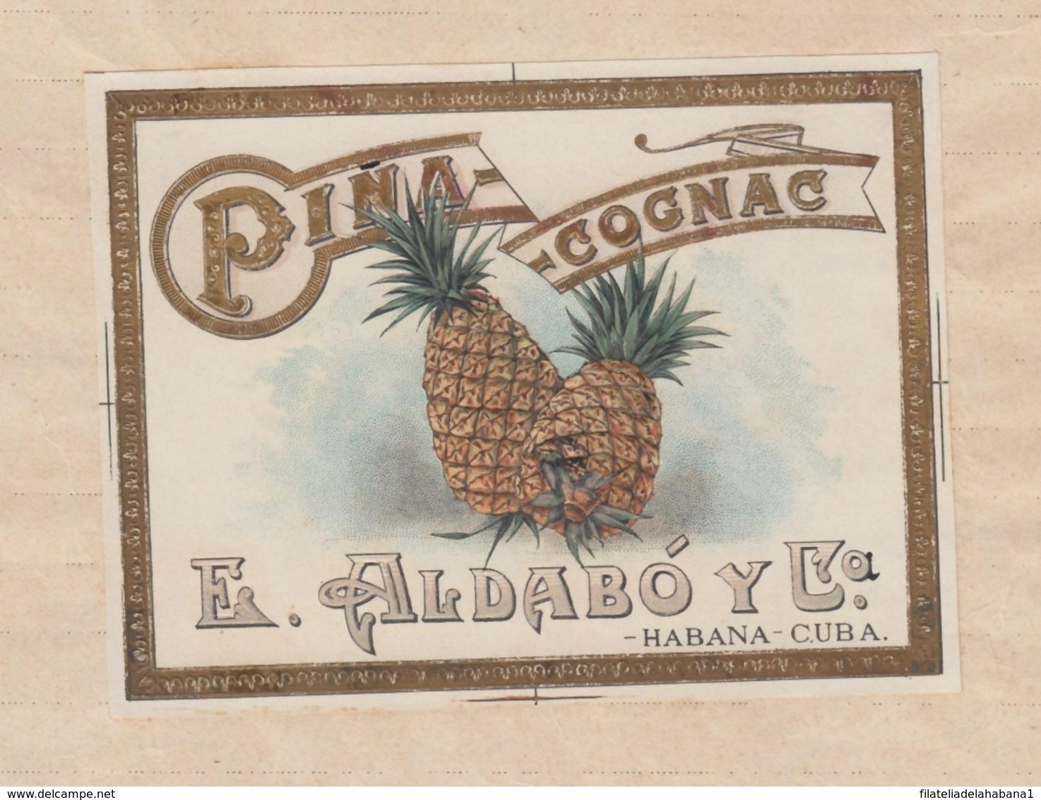 E6275 CUBA 1918 DOC REGISTRO DE MARCAS Y PATENTES. ALDABO COGNAC PIÑA. - Documentos Históricos
