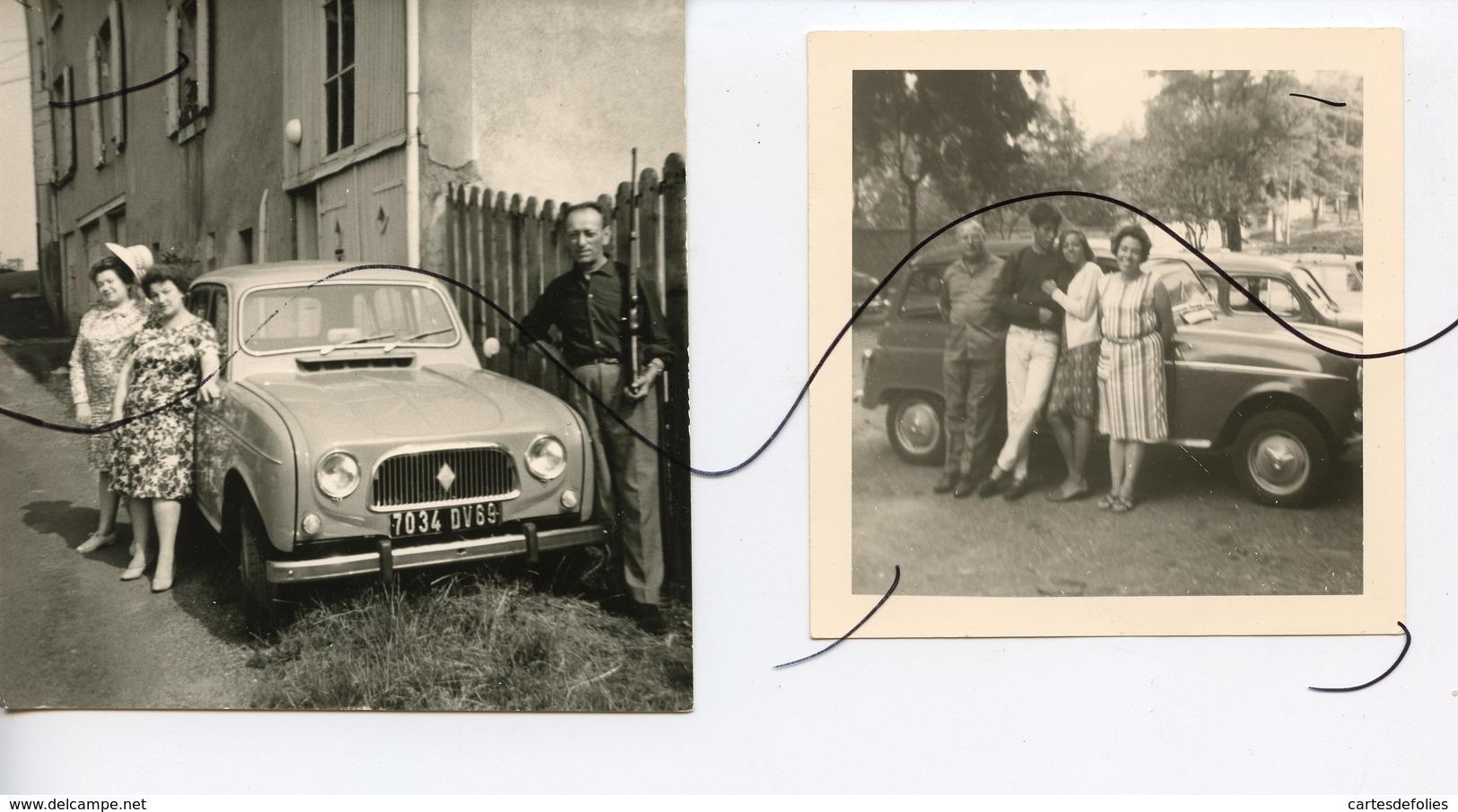 2 PHOTOS ANIMÉES.  Ancienne VOITURE RENAULT 4 L . IMMATRICULATION 7034 DV 69 - Cars