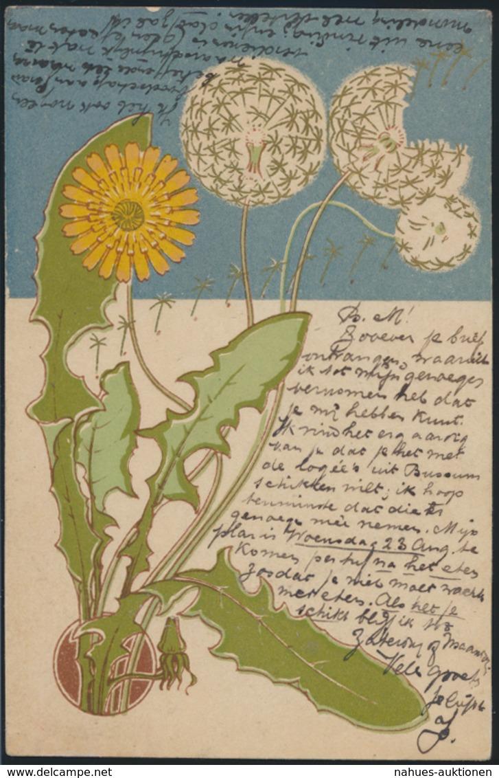 Ansichtskarte Flora Pflanzen Löwenzahn Pusteblume Sehr Schöne Farben - Künstlerkarten