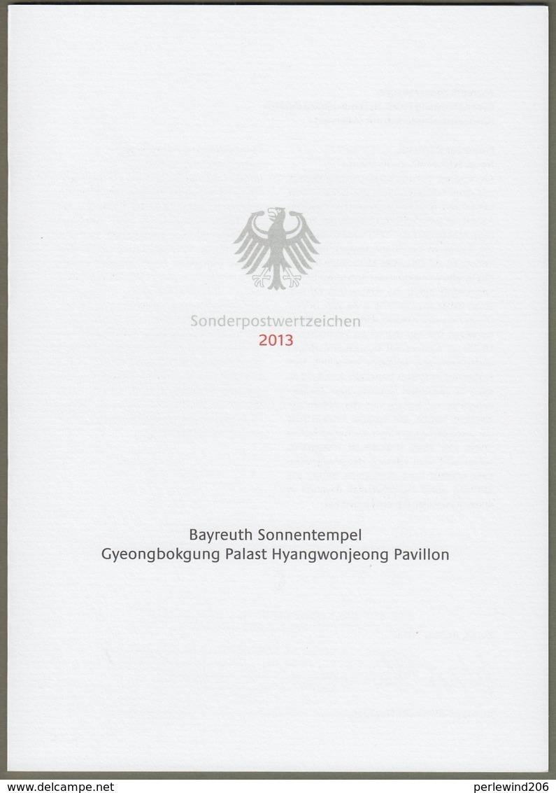 """Bund + Korea: Ministerkarte Typ VII , Mi-Nr. 3013-14: """" Bayreuth Sonnentempel - Hyangwonjeong Pavillon """" Joint Issue X - [7] République Fédérale"""