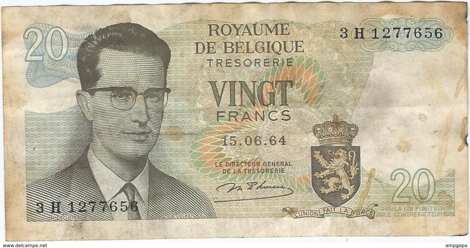 Bélgica - Belgium 20 Francs 15-6-1964 Pk 138 1 Ref 153-4 - [ 2] 1831-... : Reino De Bélgica