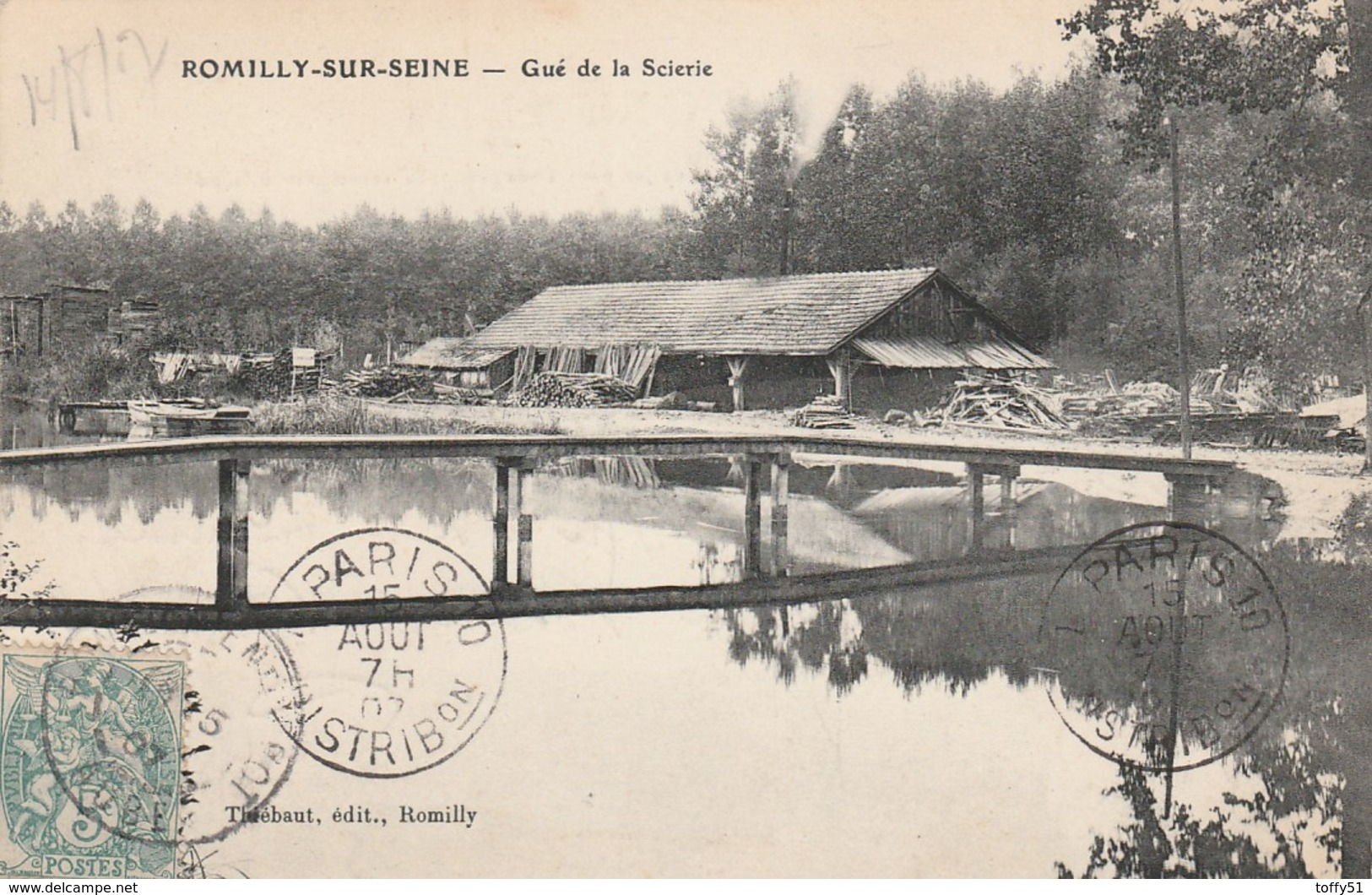 CPA:ROMILLY SUR SEINE (10) SCIERIE GUÉ...ÉCRITE - Romilly-sur-Seine