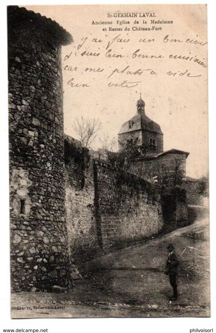 ST GERMAIN LAVAL ANCIENNE EGLISE ET RESTES DU CHATEAU ANIMEE - Saint Germain Laval