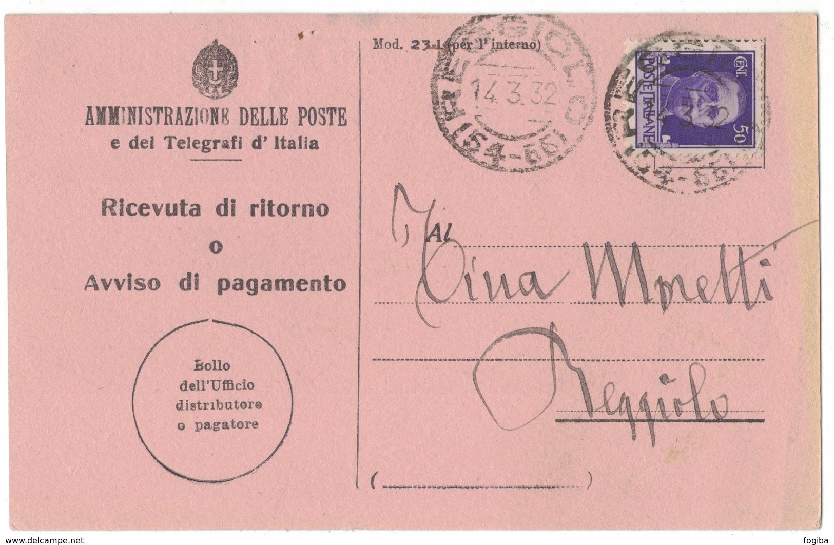 AN173   Regno 1932 Ricevuta Di Ritorno Reggiolo Annullo Frazionario (54-65) - 1900-44 Vittorio Emanuele III