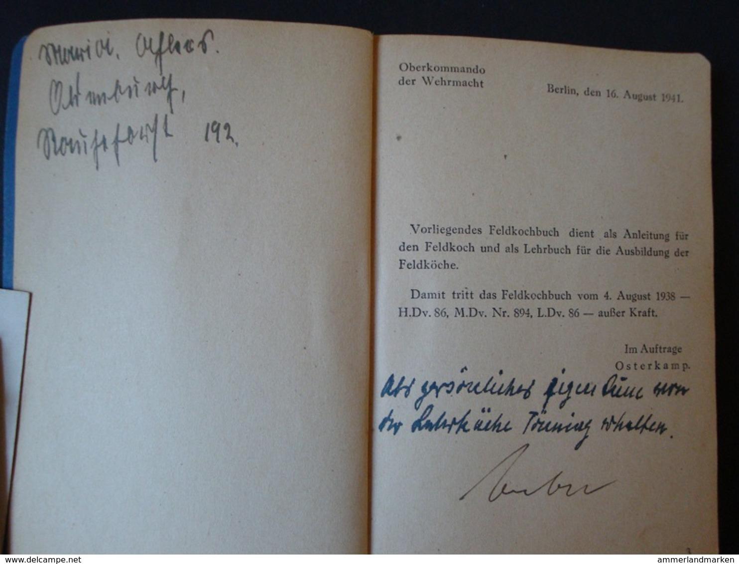 Feldkochbuch Vom 16.8.1941, 124 Seiten Mit Anhang, RAR !! - Deutsch