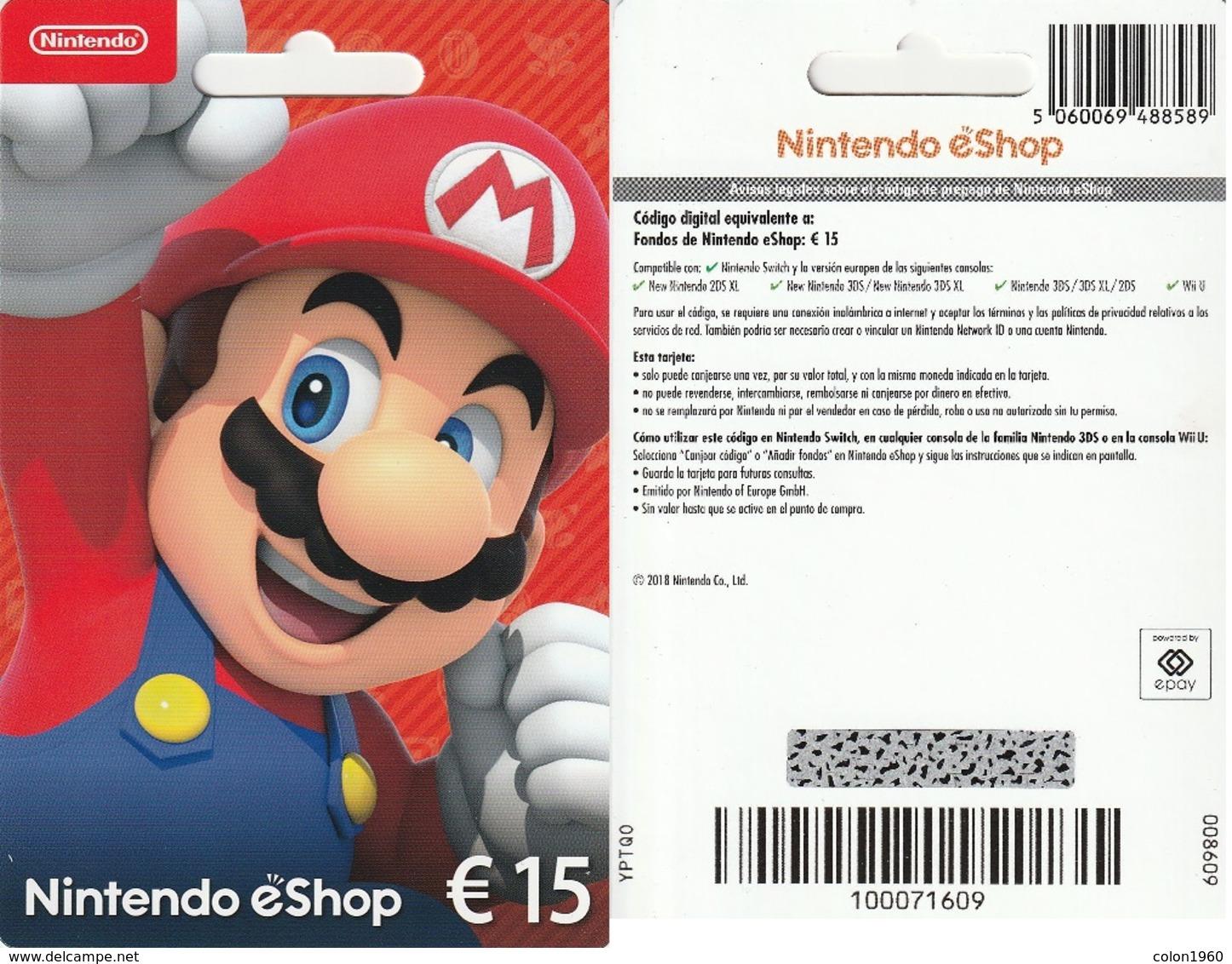 TARJETA REGALO DE ESPAÑA, GIFT CARD. NINTENDO. 082. - Tarjetas De Regalo