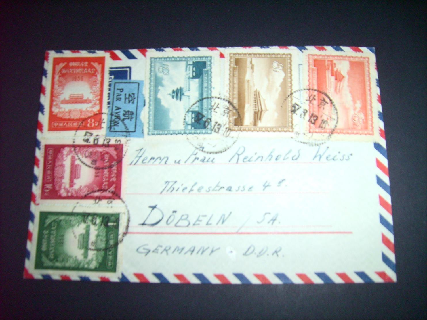 China - Luft - Brief  13.08.1957 / Peking Nach Döbeln ( Deutschland ) / Siehe Fotos - 1949 - ... People's Republic