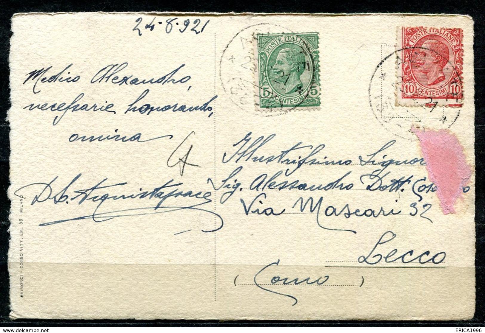 CARTOLINA CV2678 AGLIATE BRIANZA (Monza MB) Villa Albertoni,  FP, Viaggiata 1921 Per Lecco, Buone Condizioni (GC) - Monza
