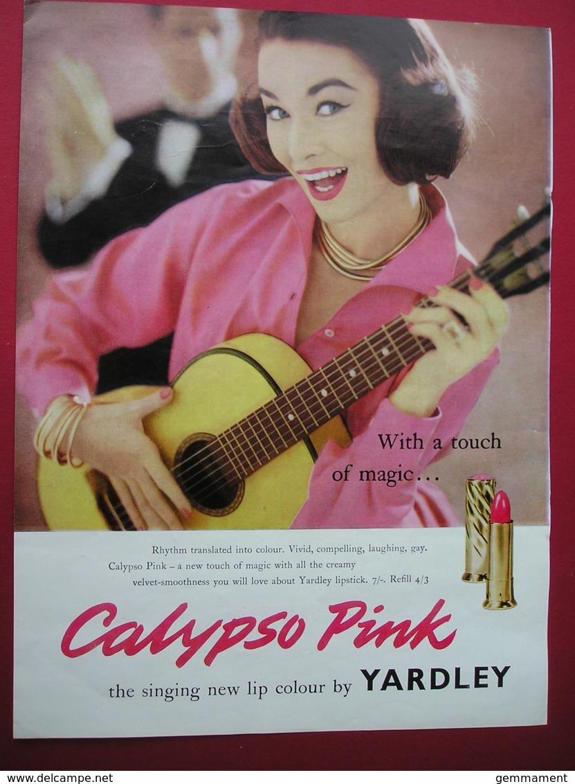 YARDLEY CALYPSO PINK LIPSTICK.  0RIGINAL 1958 MAGAZINE ADVERT - Other