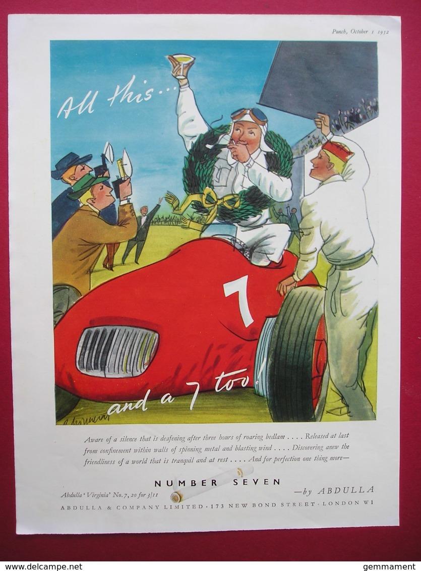 ABDULLA NUMBER SEVEN CIGARETTES. 0RIGINAL 1952 MAGAZINE ADVERT - Other